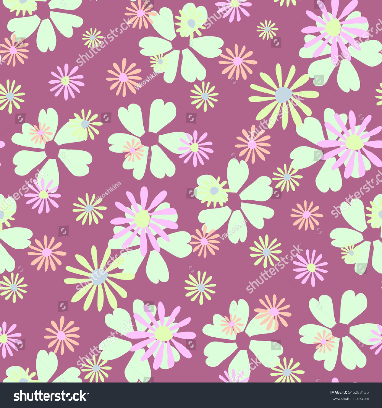 Floral Simple Seamless Pattern Detailed Flowers Stock Vector
