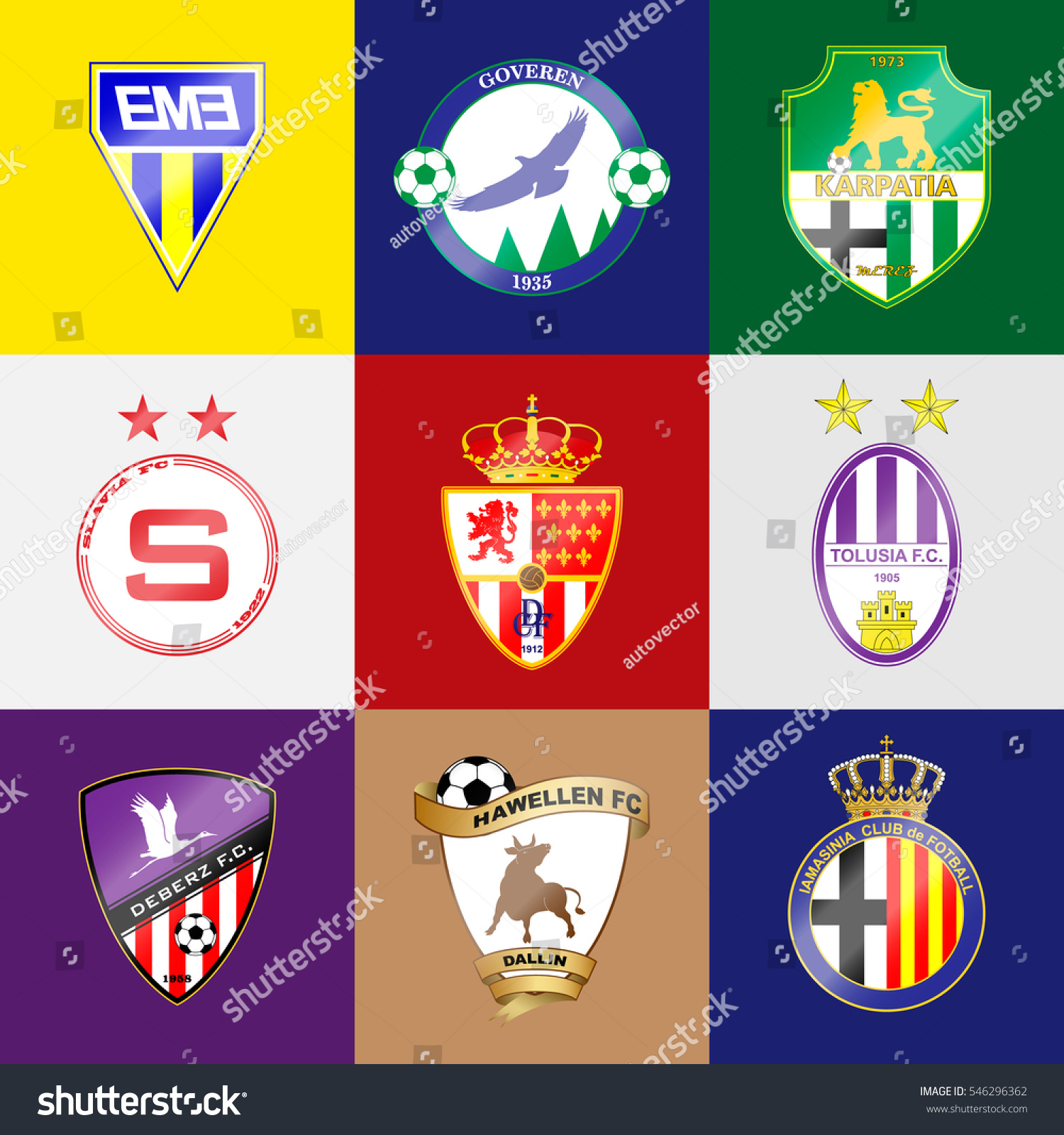 Football Team Logo Set Name Color Stock Vector Royalty Free