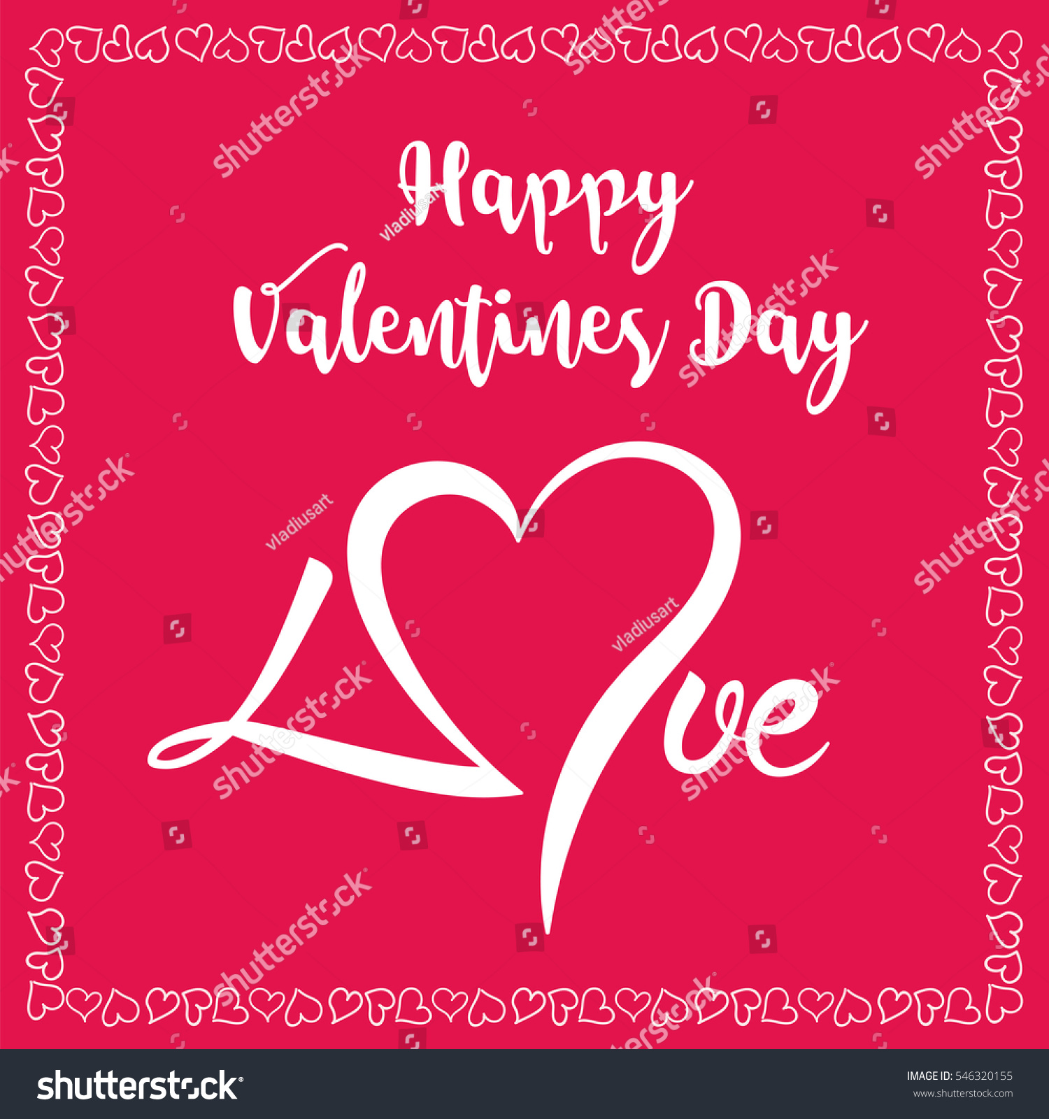 Happy Valentines Day Sign. On Red Background With Hearts In Border
