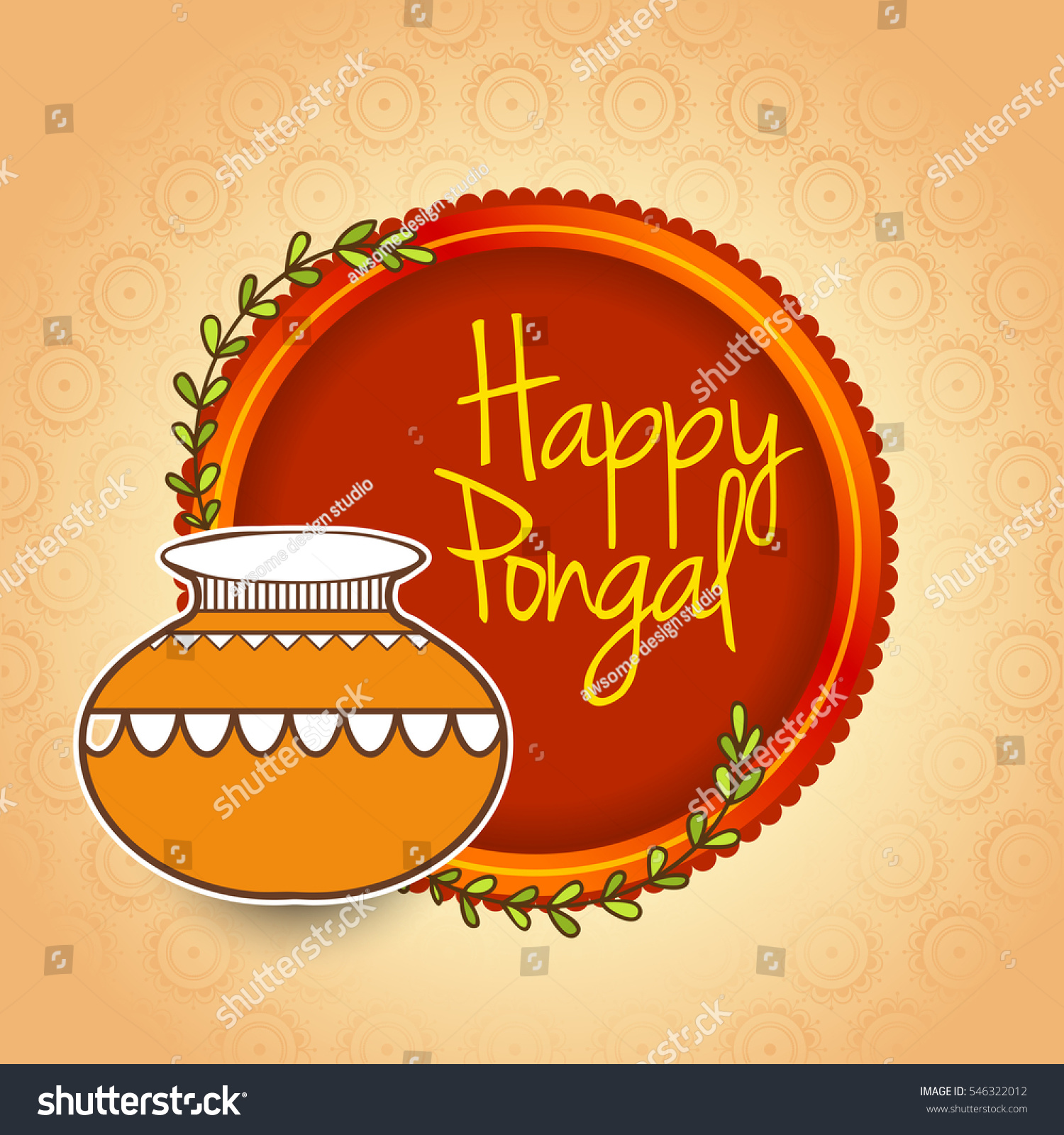 Happy Pongal Greeting Card Background Stock Vector Royalty Free