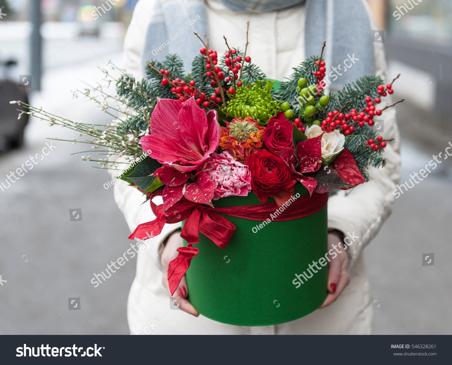 Beautiful Christmas Floral Arrangement Hat Box Stock Photo