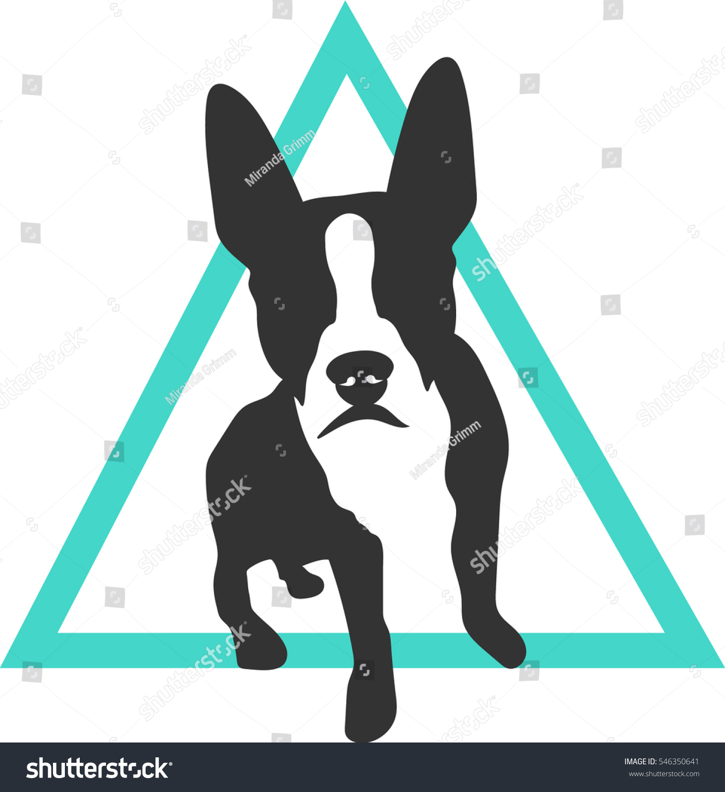boston terrier french bulldog branding logo stock vector 546350641
