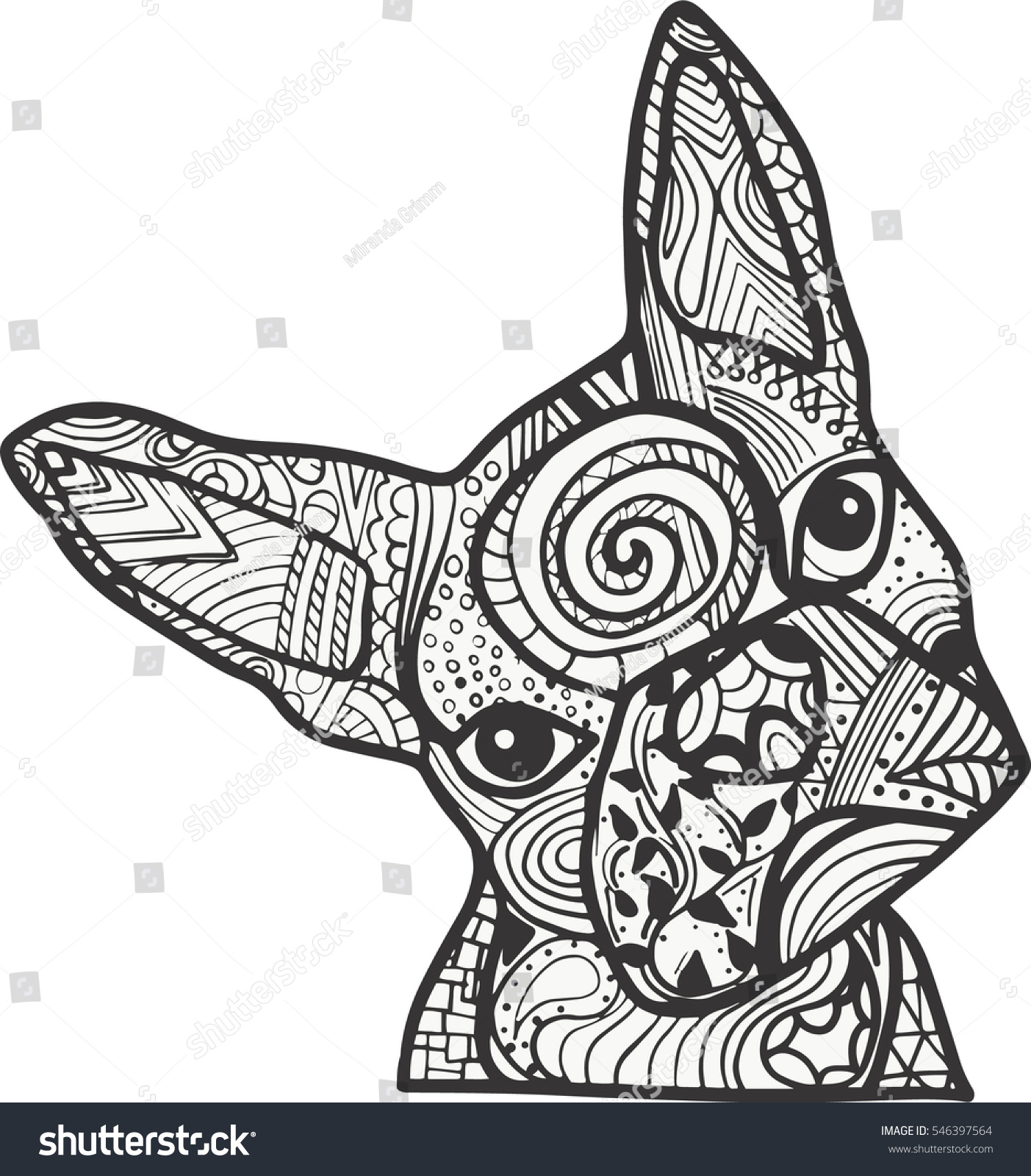 boston terrier french bulldog doodle coloring stock vector