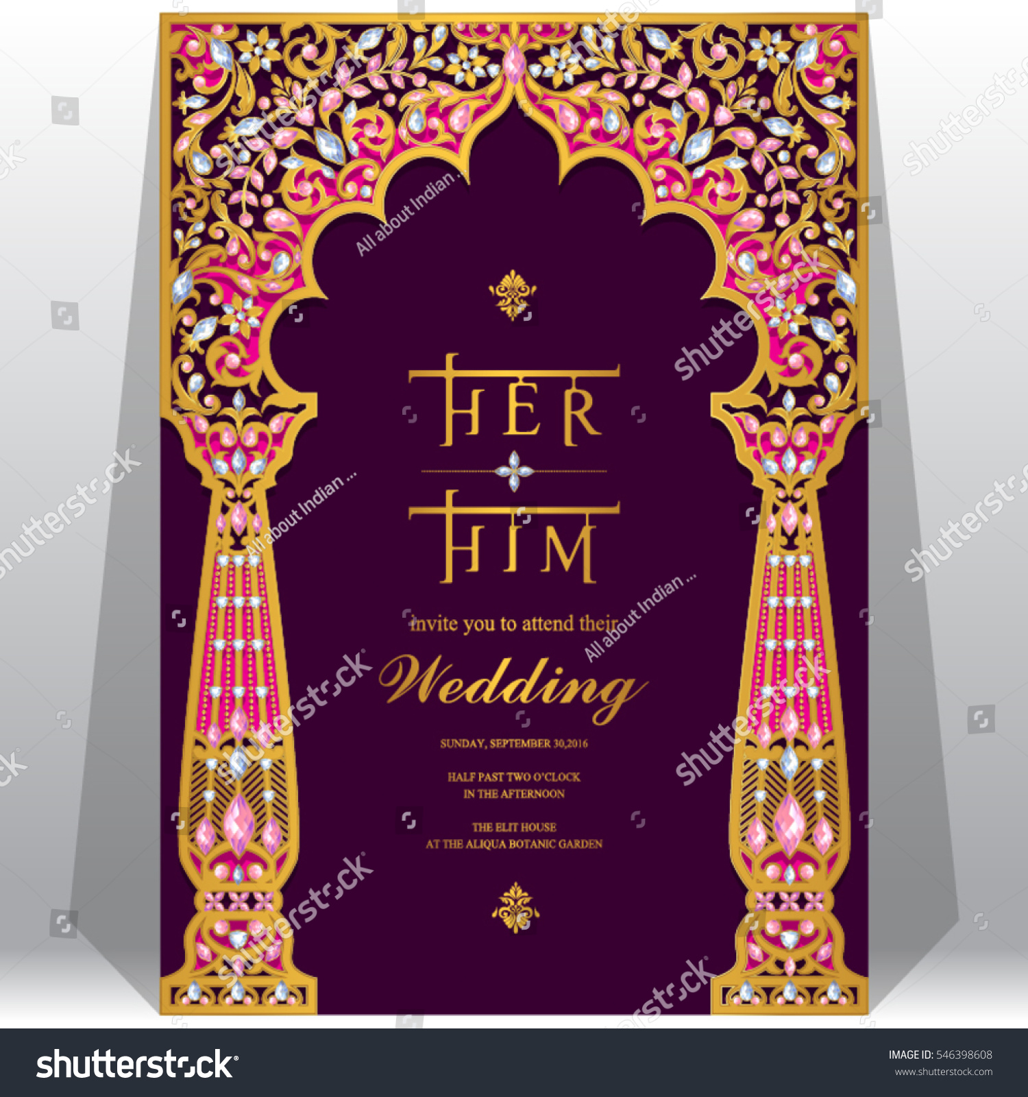 Indian Wedding Invitation Card Templates Gold Image Vectorielle De