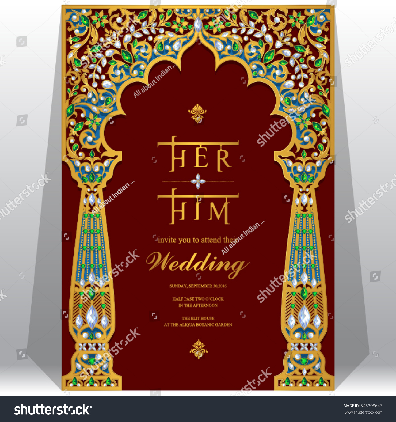 Indian Wedding Invitation Card Templates Gold Stock Vector 546398647 ...