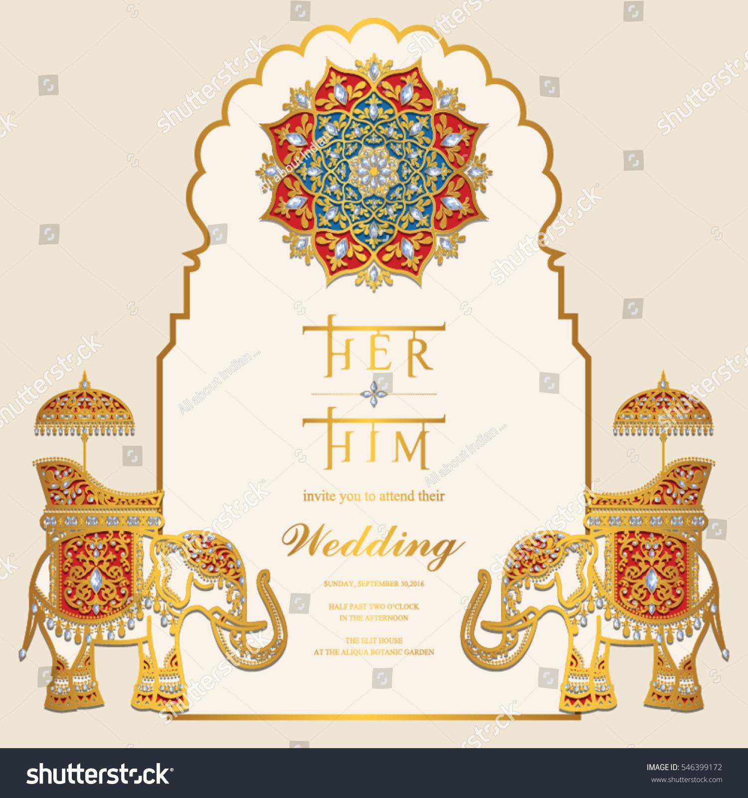 Indian Wedding Invitation Card Templates Gold Stock Vektorgrafik