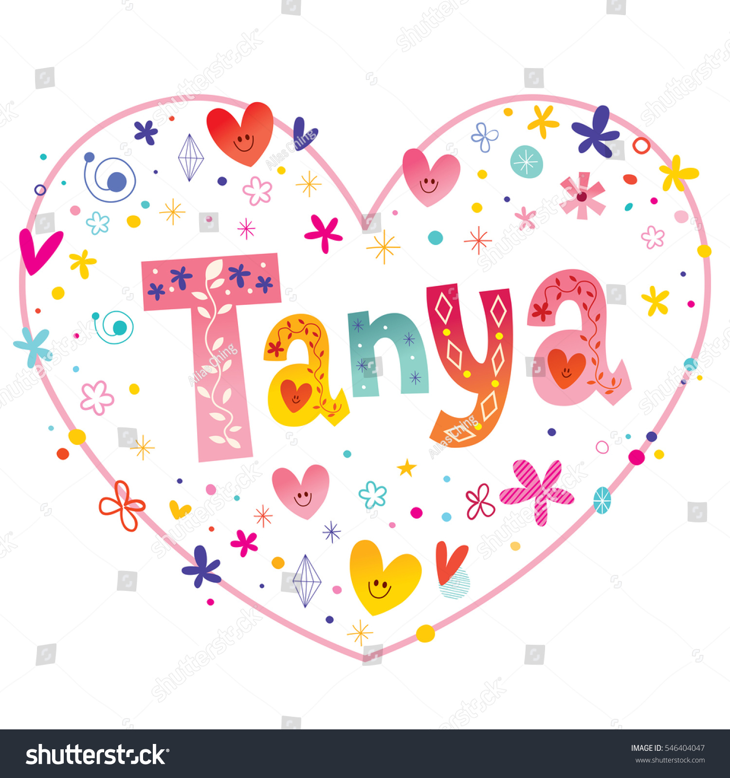 Tanya girls name decorative lettering heart stock vector 546404047 tanya girls name decorative lettering heart shaped love design biocorpaavc Gallery