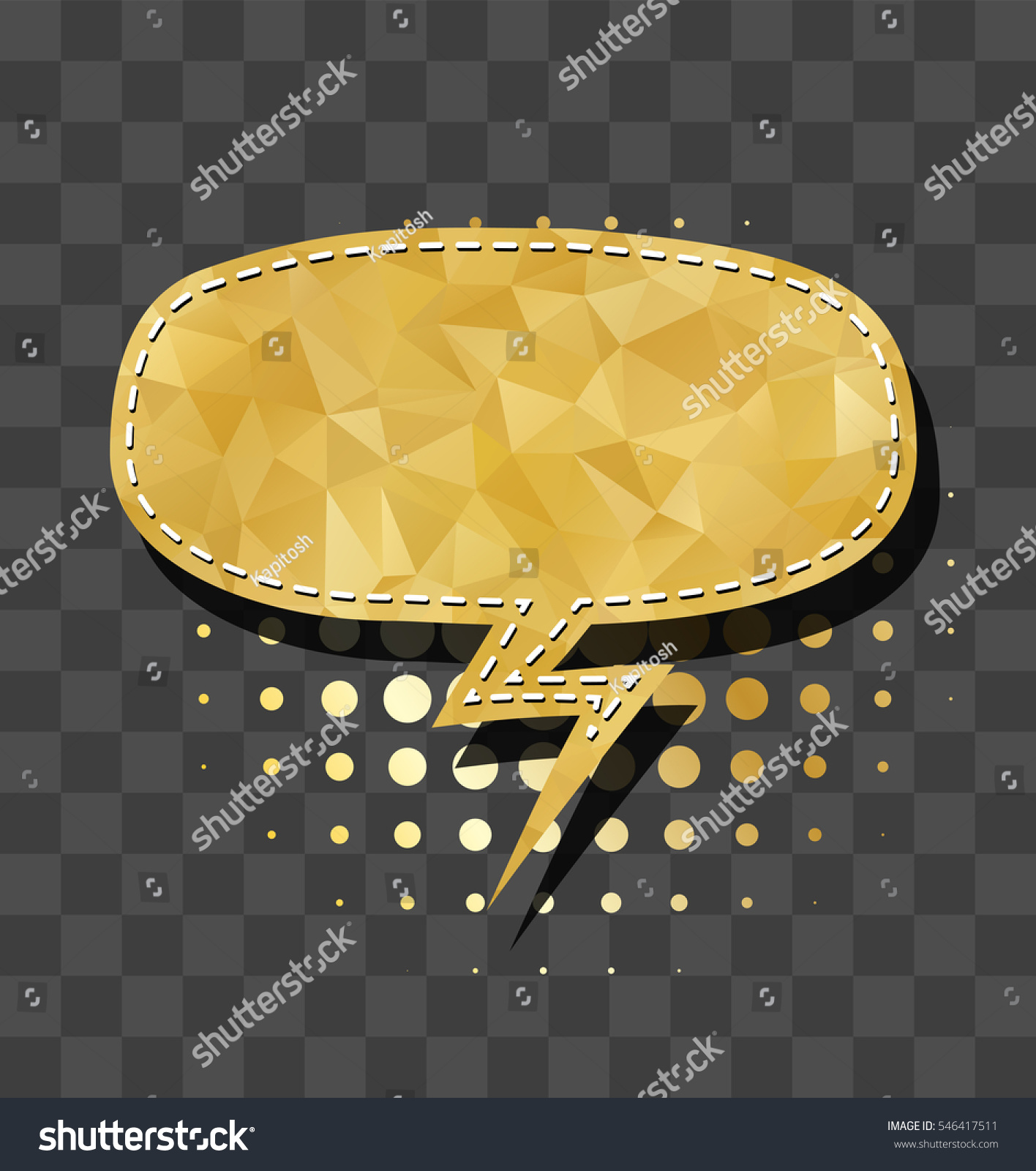 Gold Sparkle Oval Comic Text Bubble Stock Vector (Royalty Free