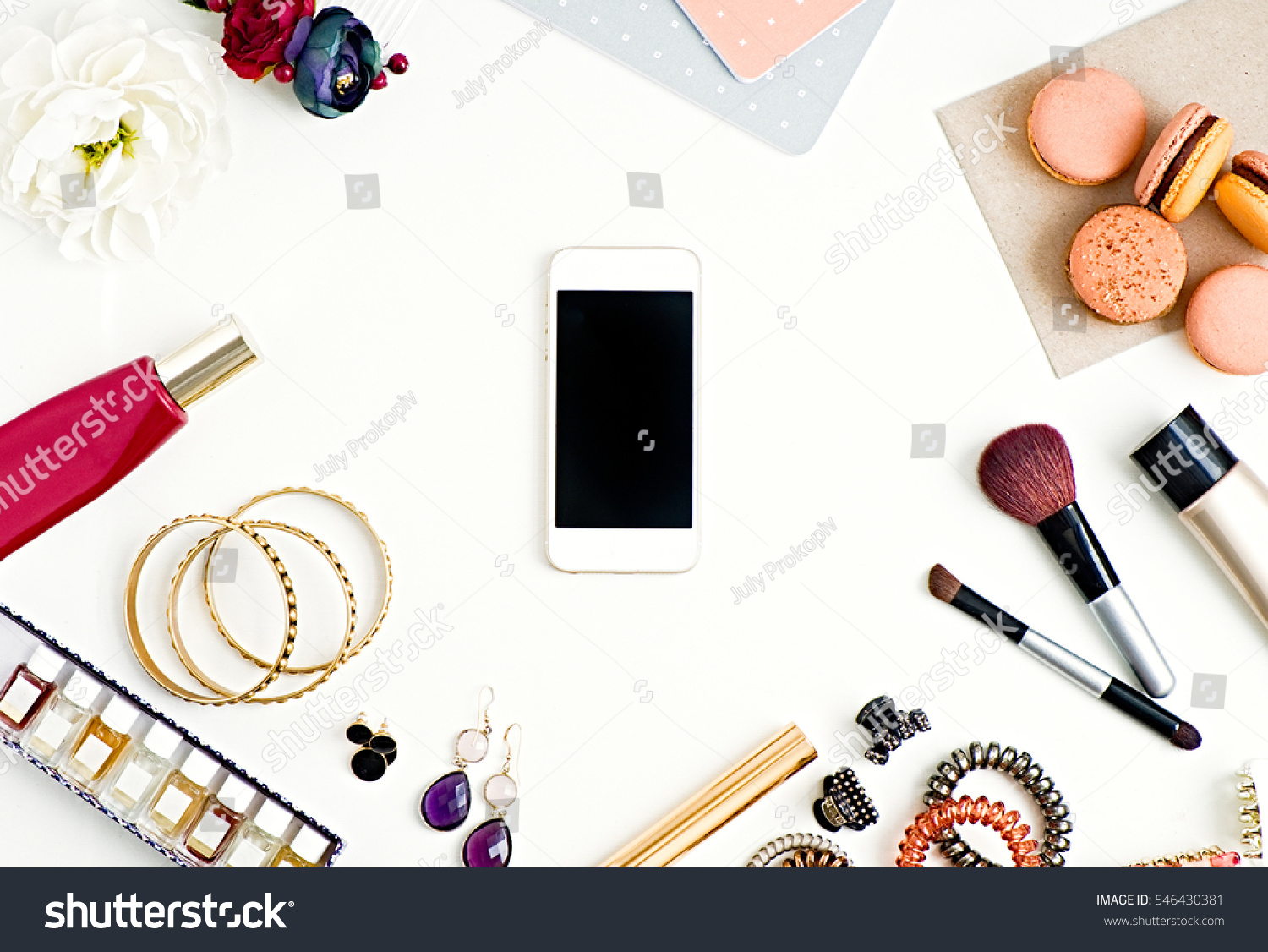 Flat Lay Womans Glamour Beauty Products Stock Photo ...