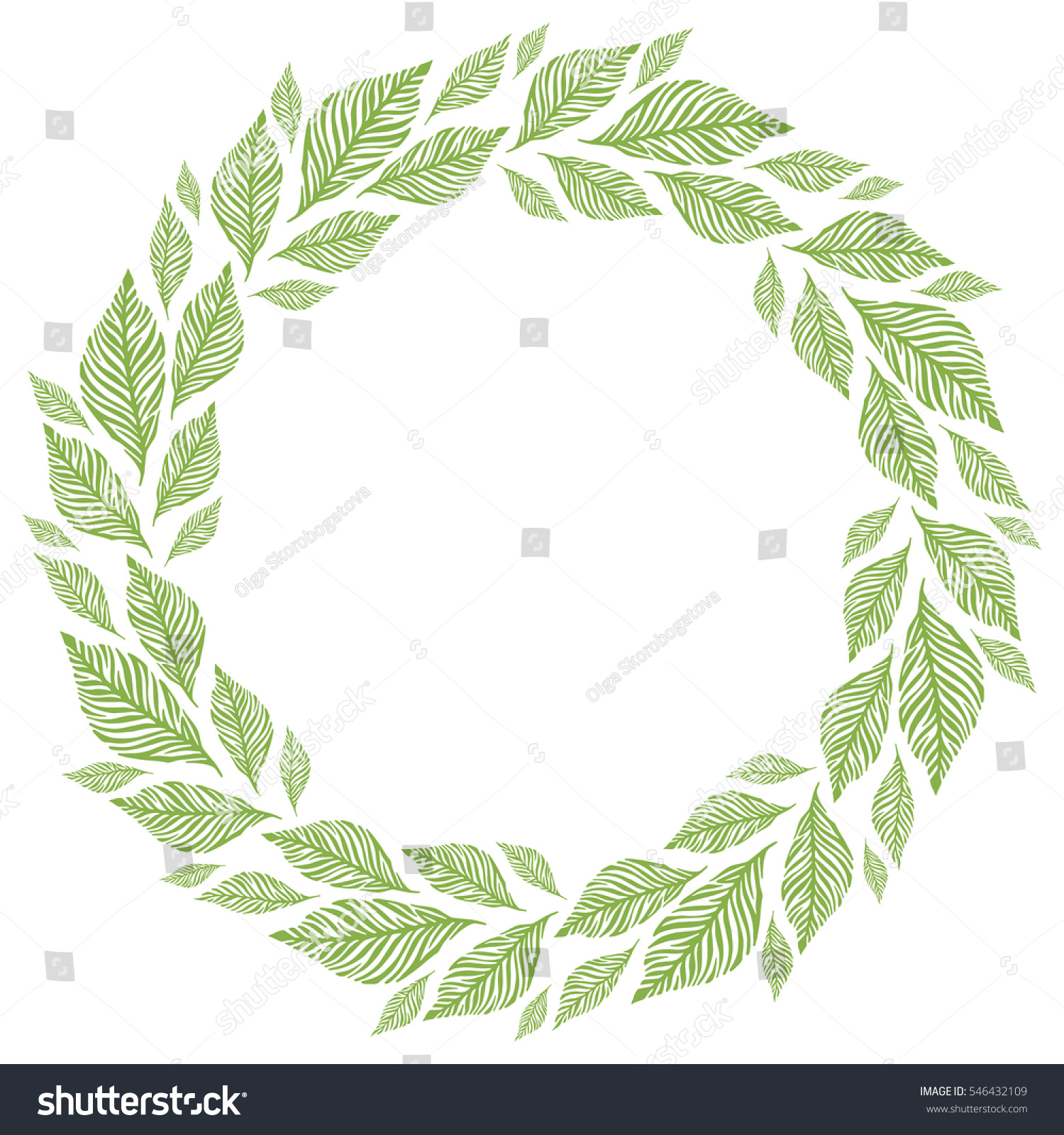 Round frame with decorative branch vector illustration stock - Vector Circle Frame Wreath Made Of Leaves Circle Decoration