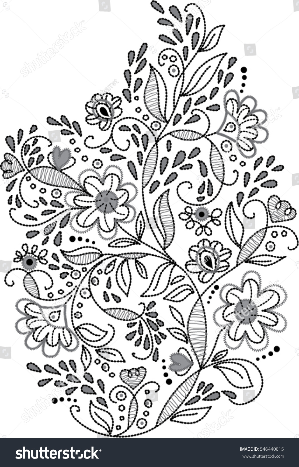 Black White Floral Embroidery Pattern Vector Stock Vector (2018 ...