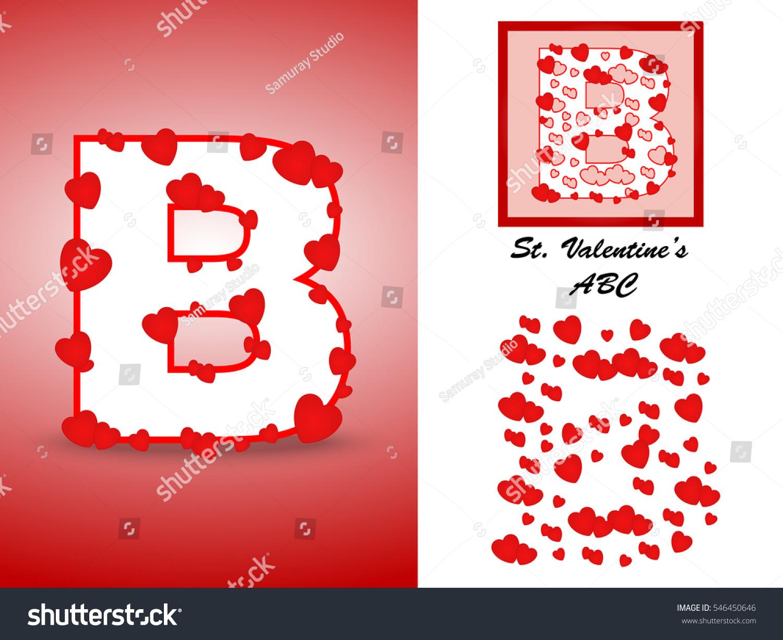 Alphabet Letter B Red Heart Valentine Stock Vector (Royalty Free ...