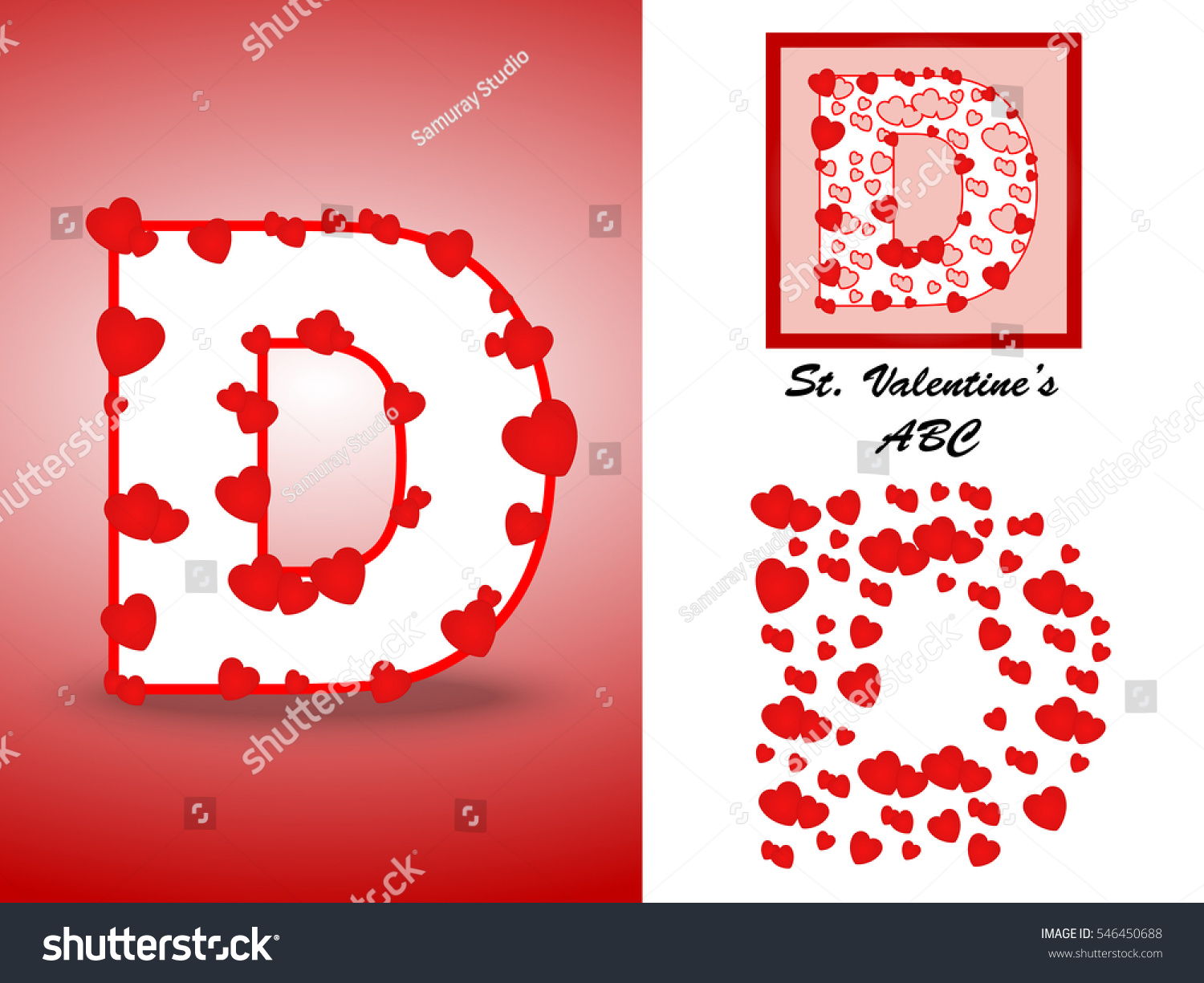 Alphabet Letter D Red Heart Valentine Stock Vector (Royalty Free ...
