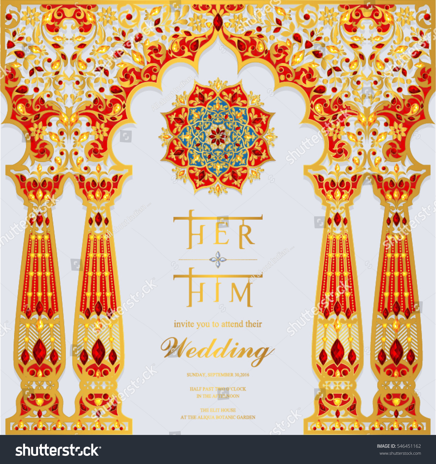 Indian Wedding Invitation Card Templates With Gold Patterned And Crystals On Paper Color Square Size