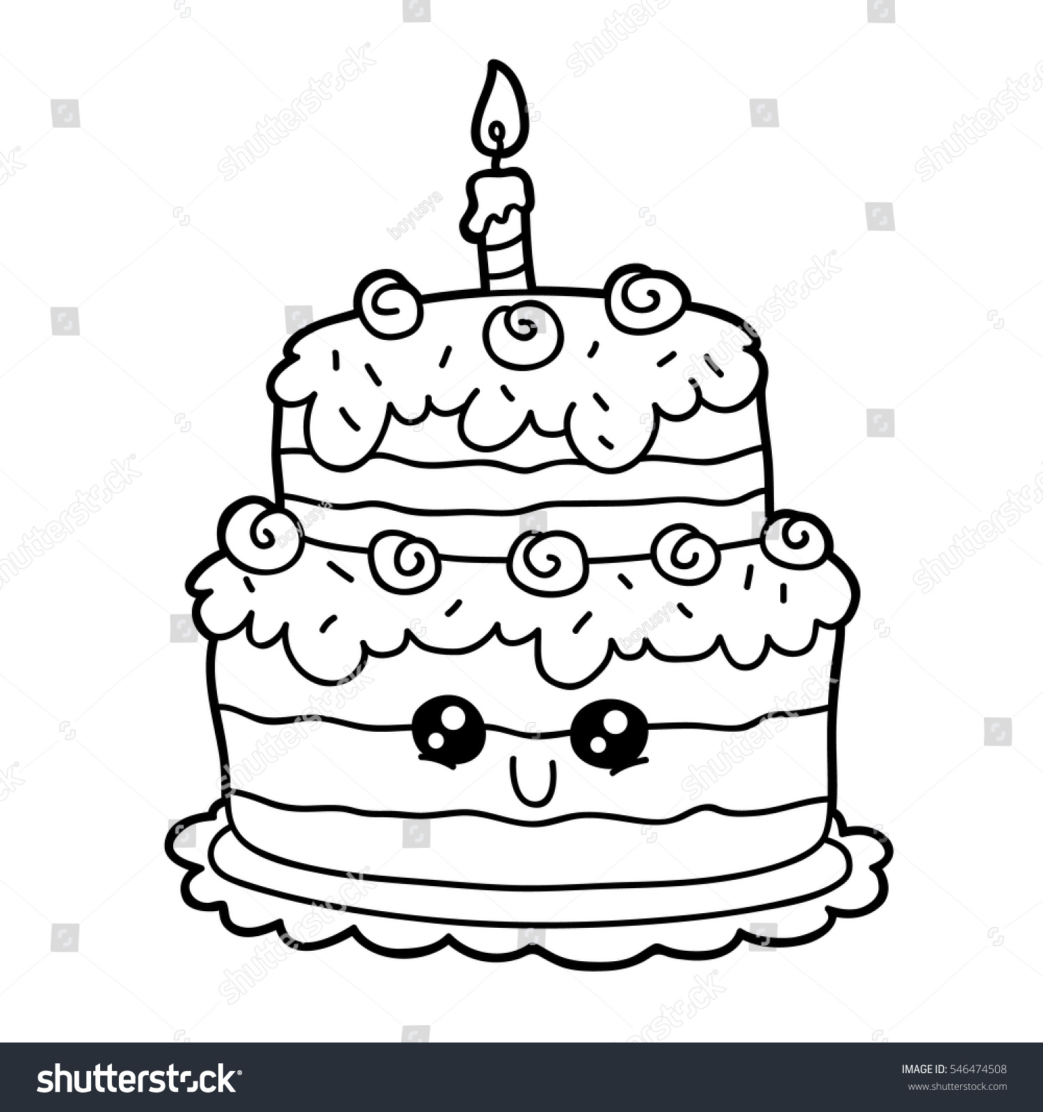 Vector Illustration Of Cute Cartoon Birthday Cake Character For Children Coloring Page