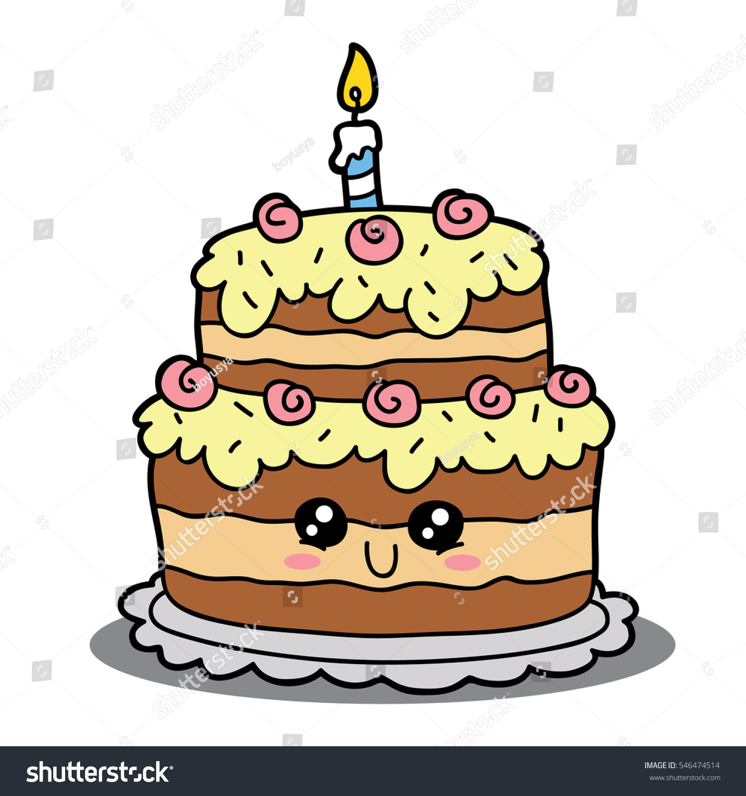 Vector Illustration Cute Cartoon Birthday Cake Stock Vector Royalty