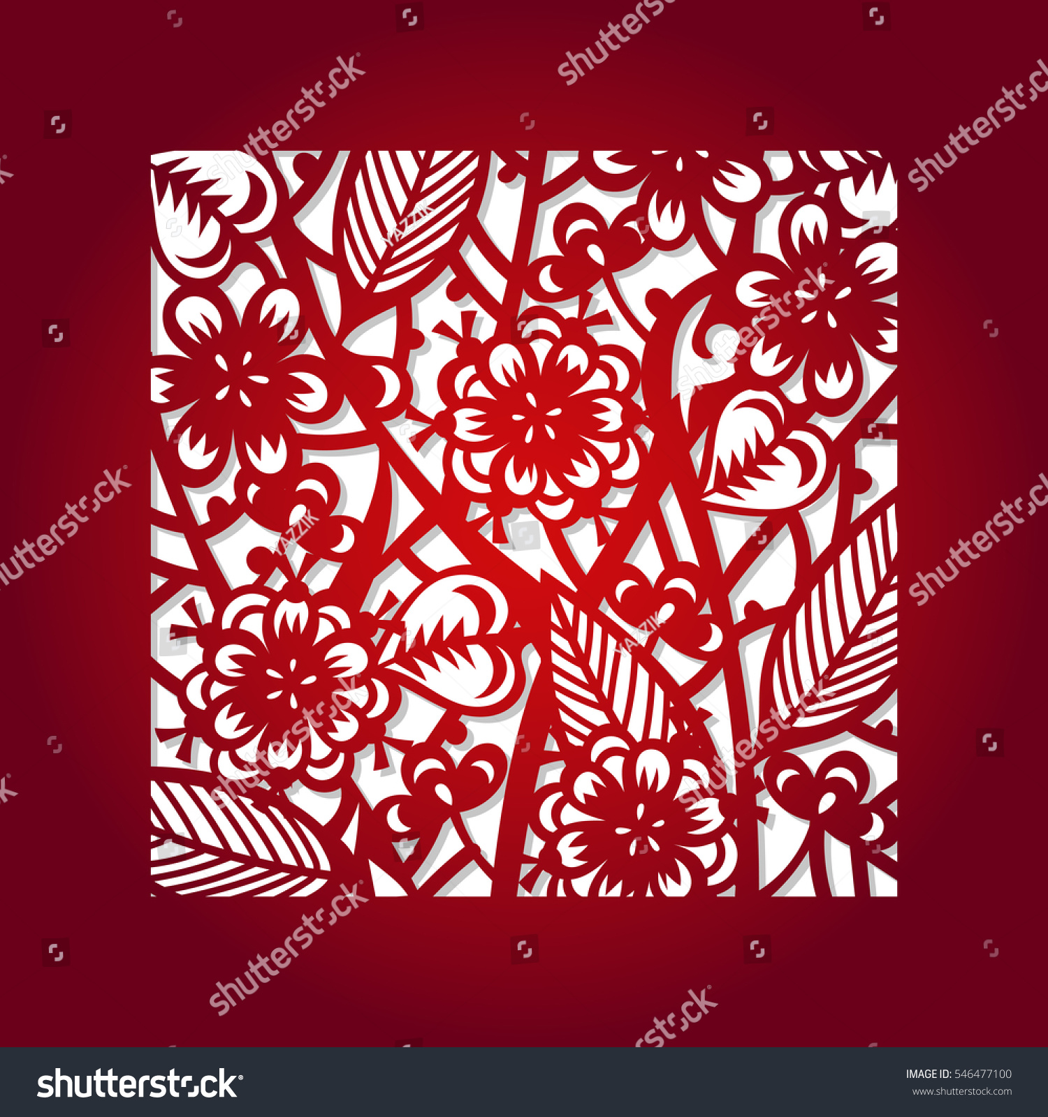 Laser Cut Flower Square Pattern Decorative Stock Vector (Royalty ...