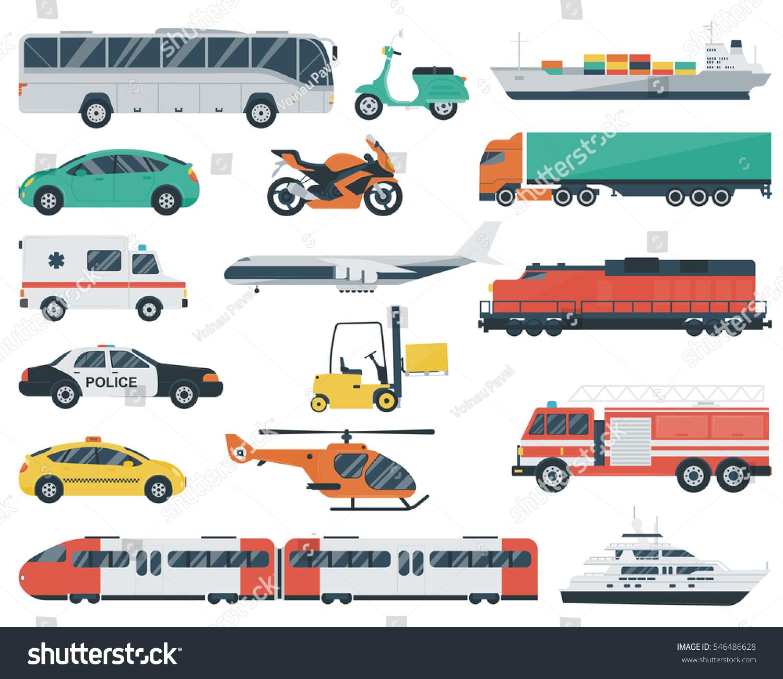 Transportation Icons Set City Cars Vehicles Stock Vector 546486628 ...