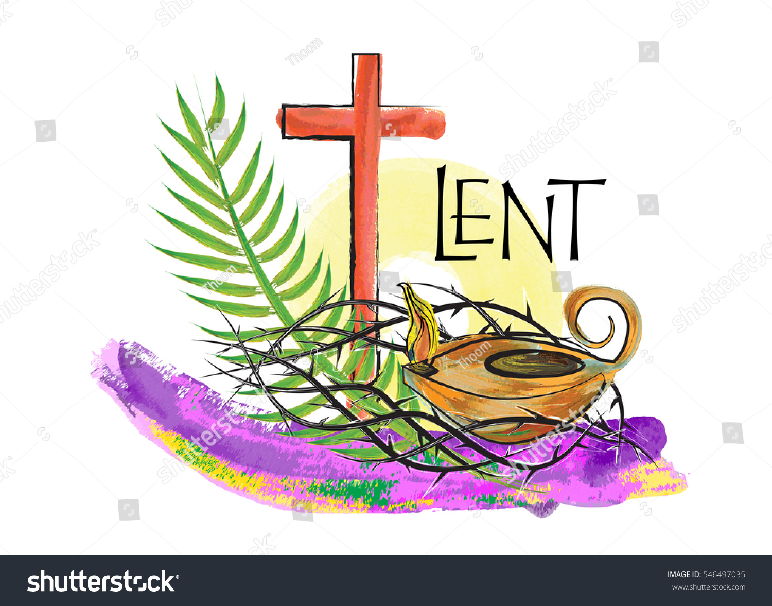 Lent season christian religious illustration abstract stock lent season christian religious illustration abstract artistic watercolor style design with crown of thorns biocorpaavc