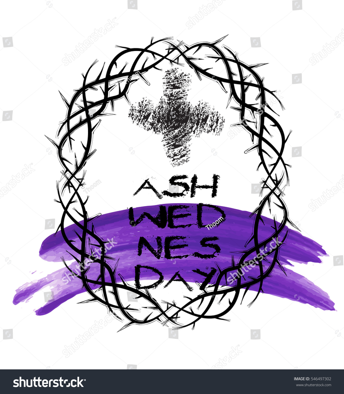 Ash Wednesday Abstract Symbolic Religious Christian Stock Vector