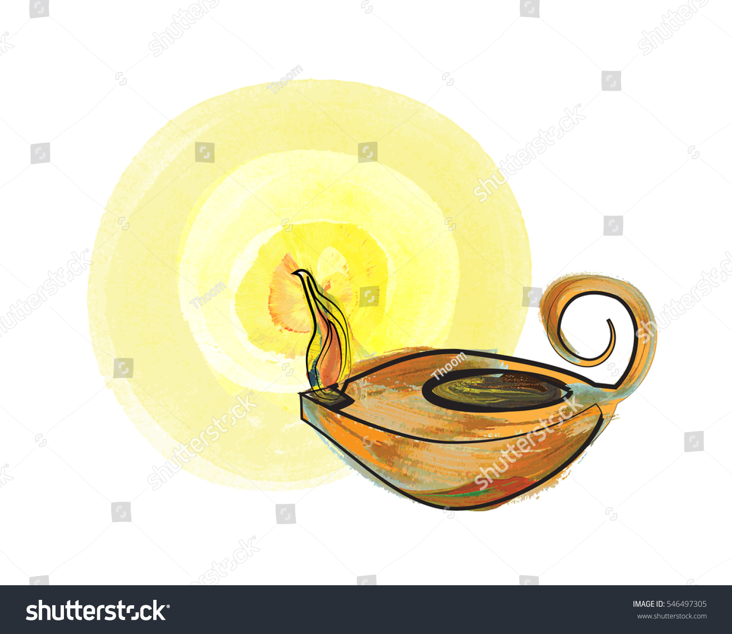 Oil Lamp Vintage Antique Vigil Lamp Stock Illustration 546497305 ... for Oil Lamp Clip Art  70ref