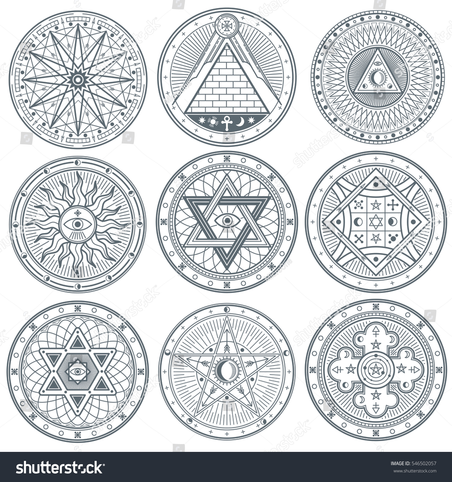Mystery witchcraft occult alchemy mystical vintage stock vector mystery witchcraft occult alchemy mystical vintage gothic vector tattoo symbols biocorpaavc Choice Image