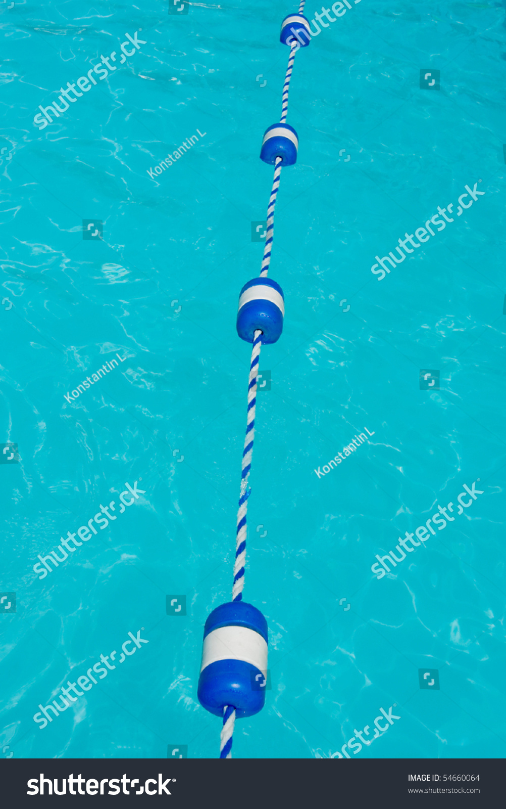 Swimming Pool Dividing Line With Floats Stock Photo