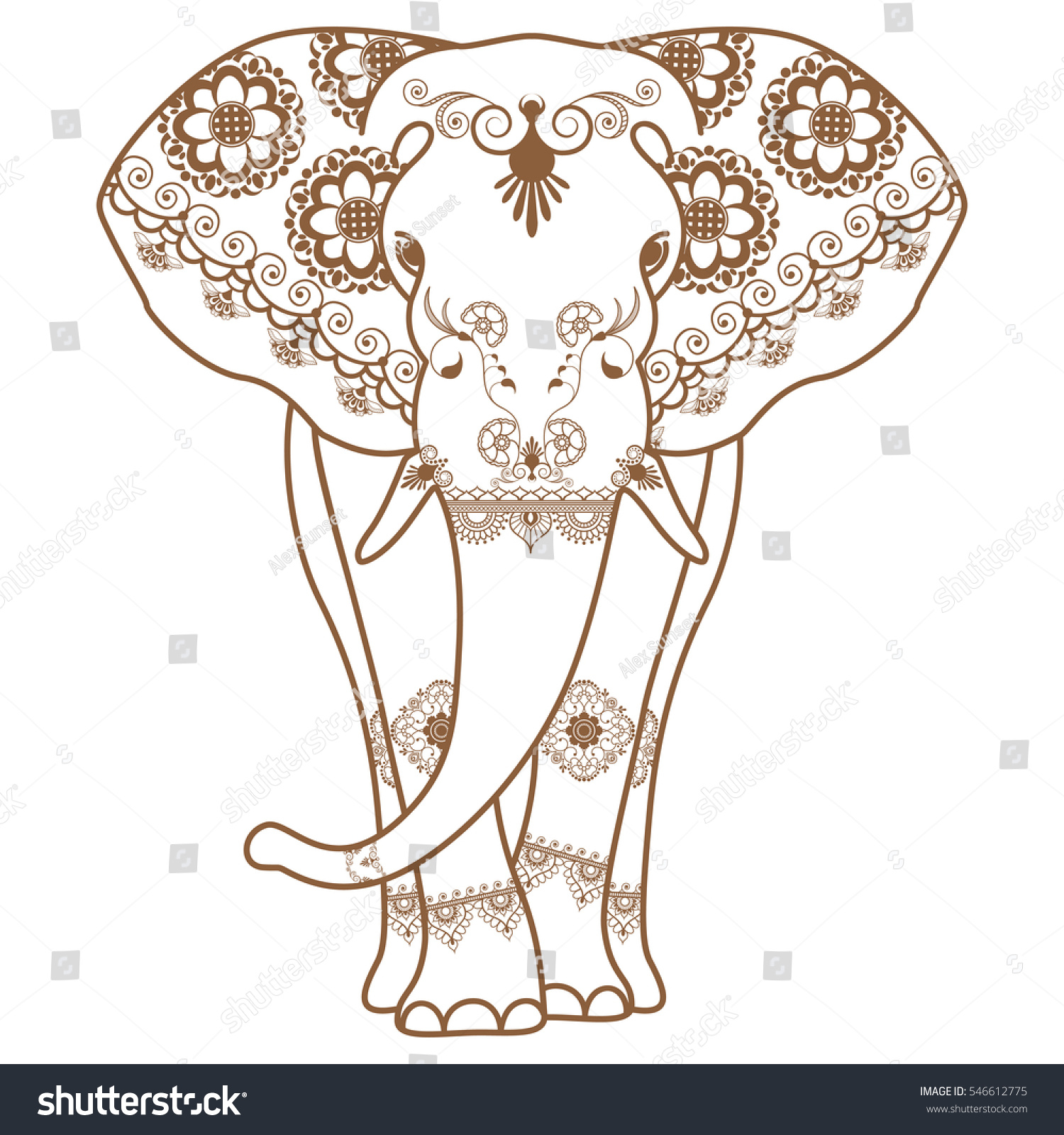 Henna Elephant Tattoo Designs: Mehndi Tattoo Brown Henna Elephant Decorated Stock Vector