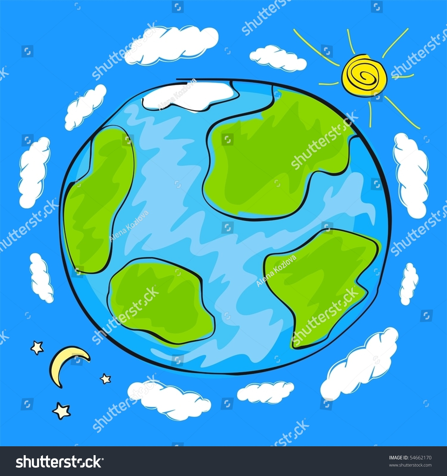Childs drawing planet earth stock vector 54662170 for Easy to draw earth