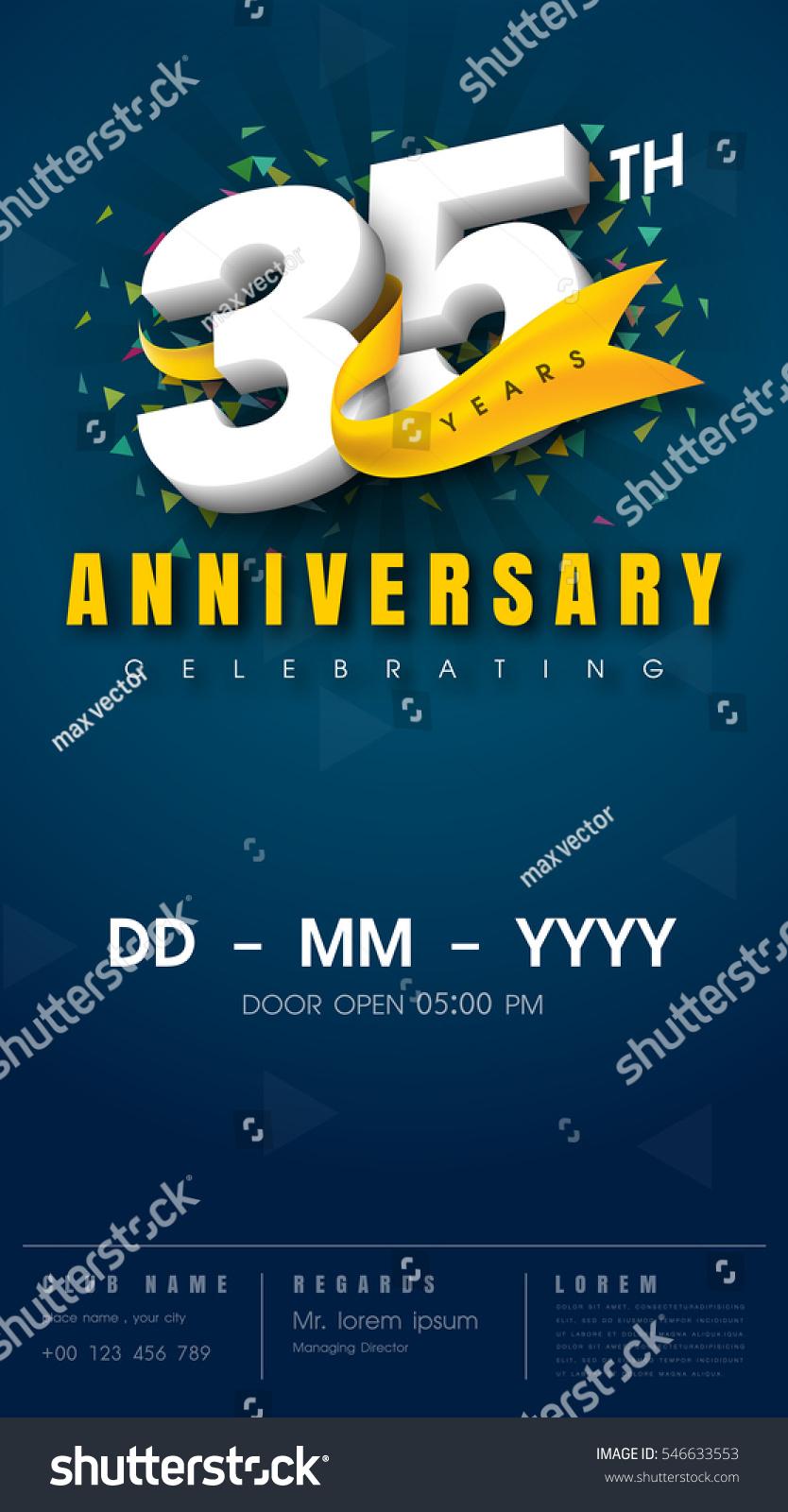 35 Years Anniversary Invitation Card Celebration Stock Vector (Royalty  Free) 546633553