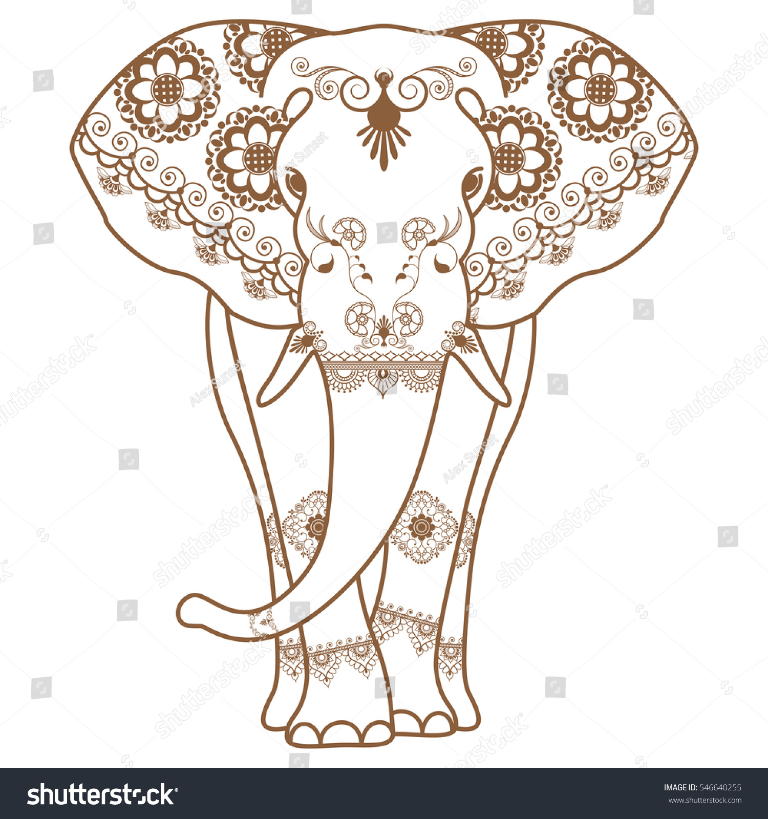 Mehndi Tattoo Brown Henna Elephant Decorated Stock Illustration