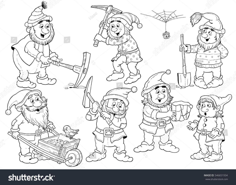 snow white seven dwarfs fairy tale stock illustration 546651934
