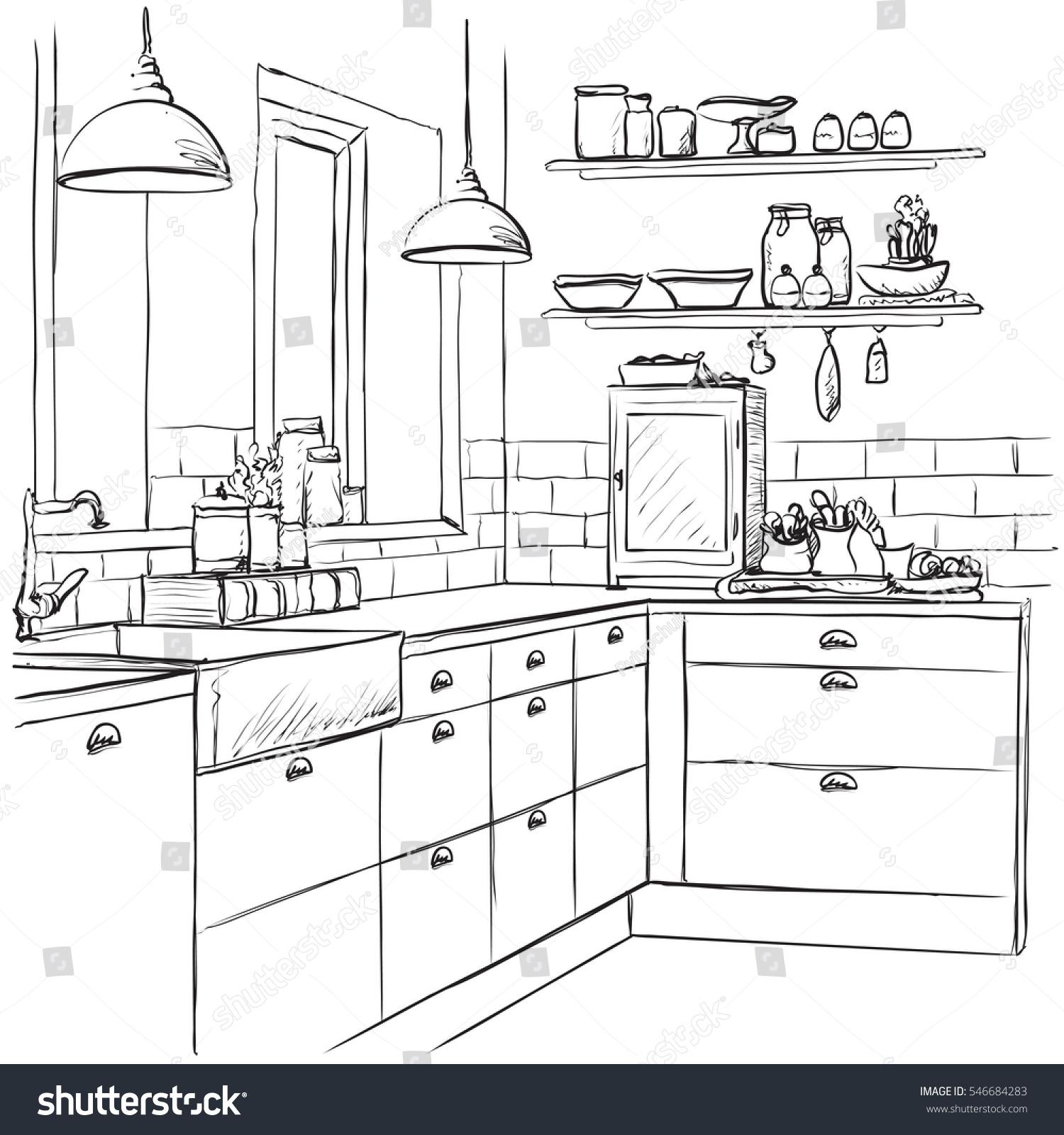 Kitchen Interior Drawing Vector Illustration Stock Vector