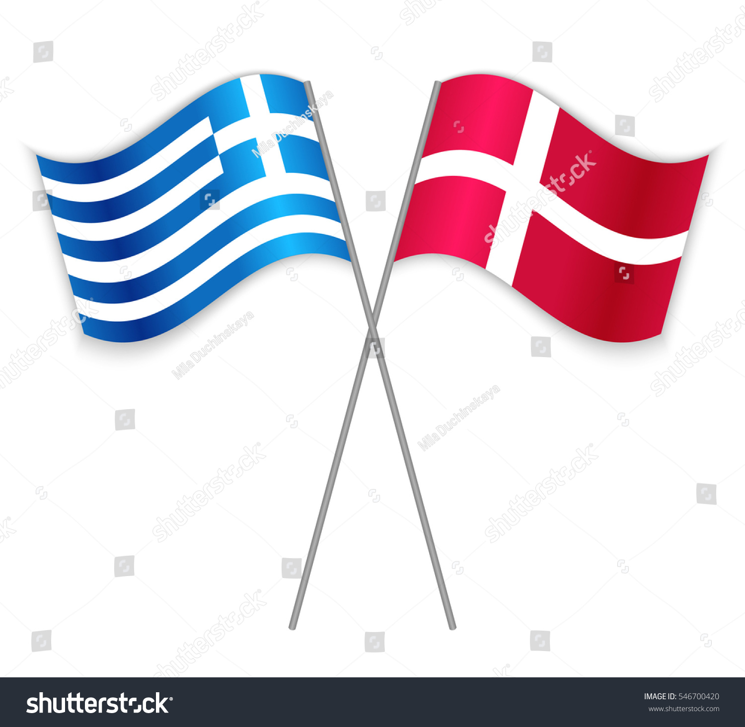 Greek Danish Crossed Flags Greece Combined Stock Vector - Denmark flags