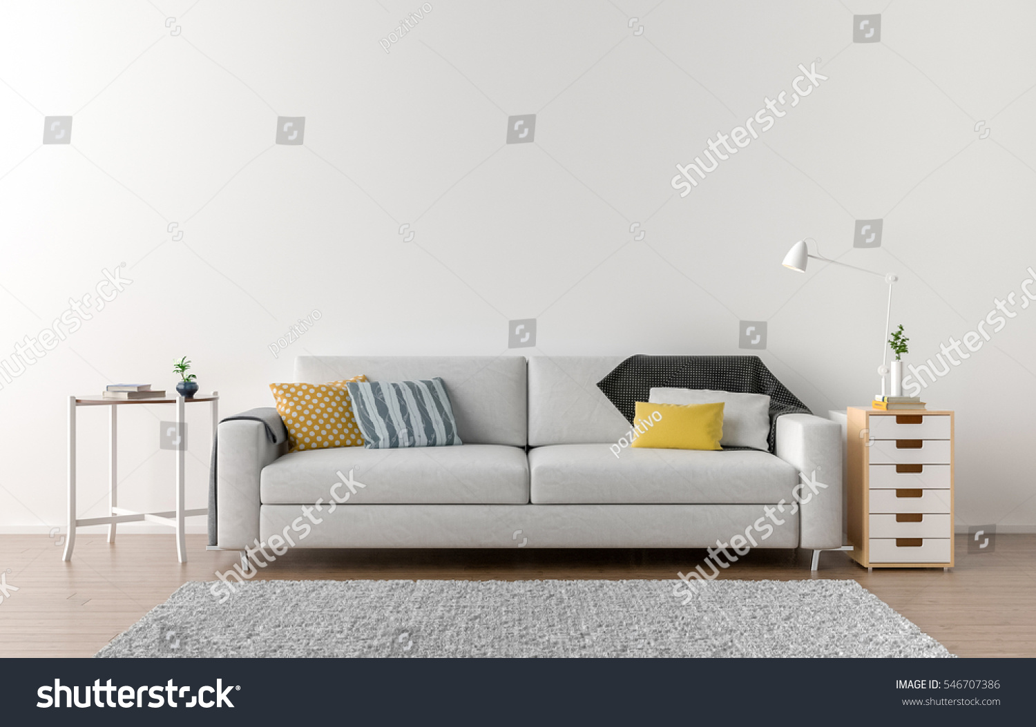 Empty Living Room White Wall Background Stock Illustration