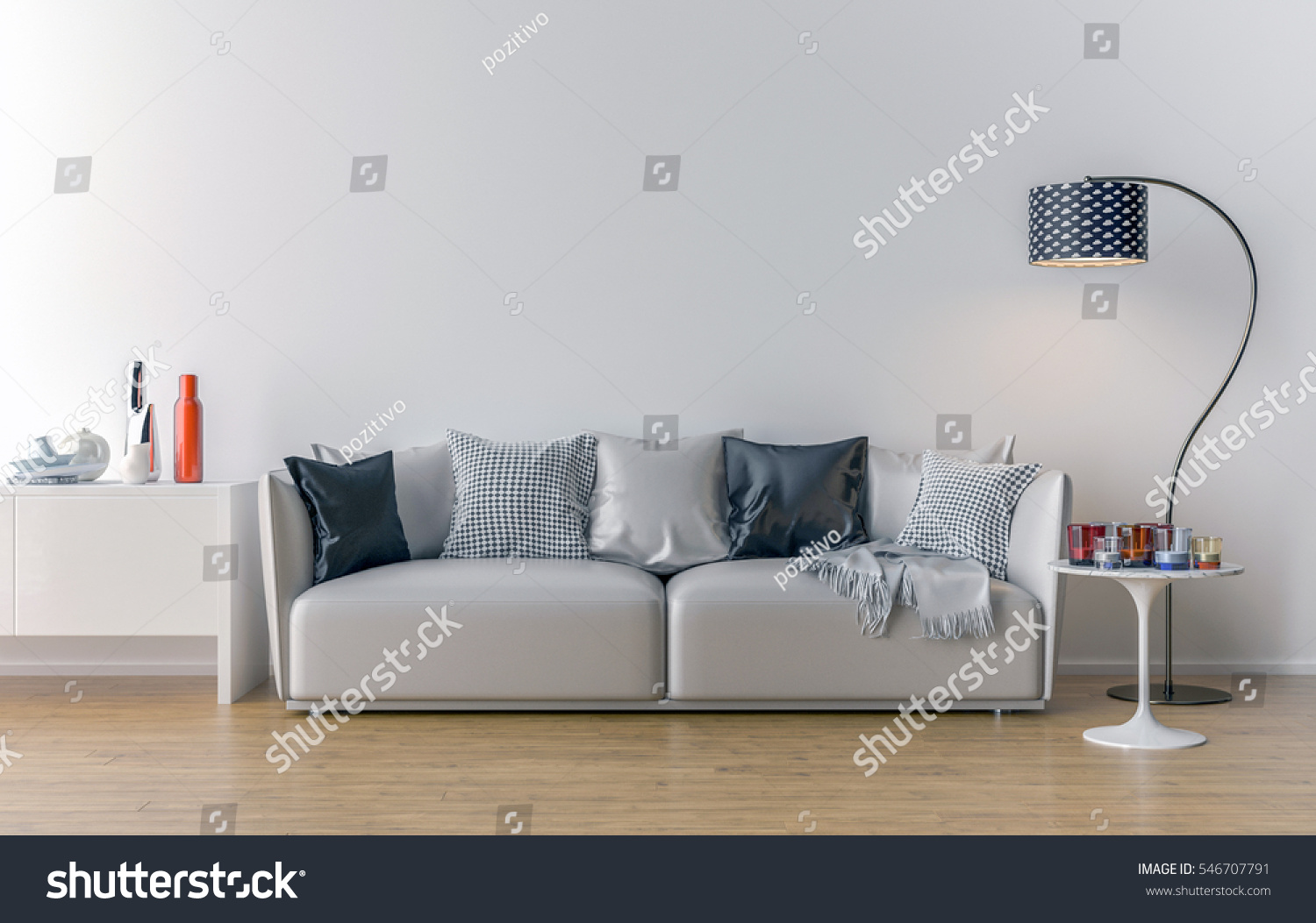 Empty Living Room White Wall Background Stock Illustration 546707791 ...