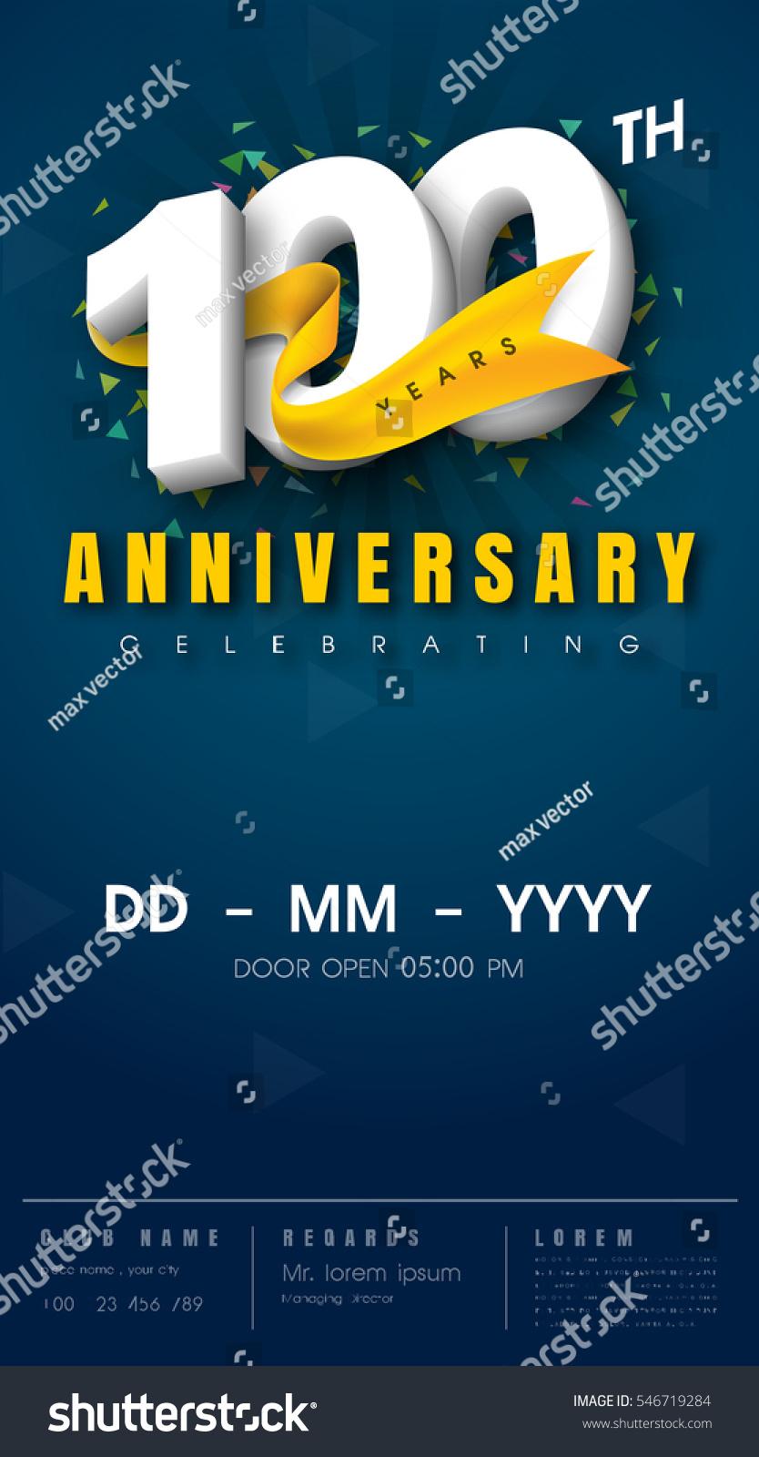 100 Years Anniversary Invitation Card Celebration Stock Vector (Royalty  Free) 546719284