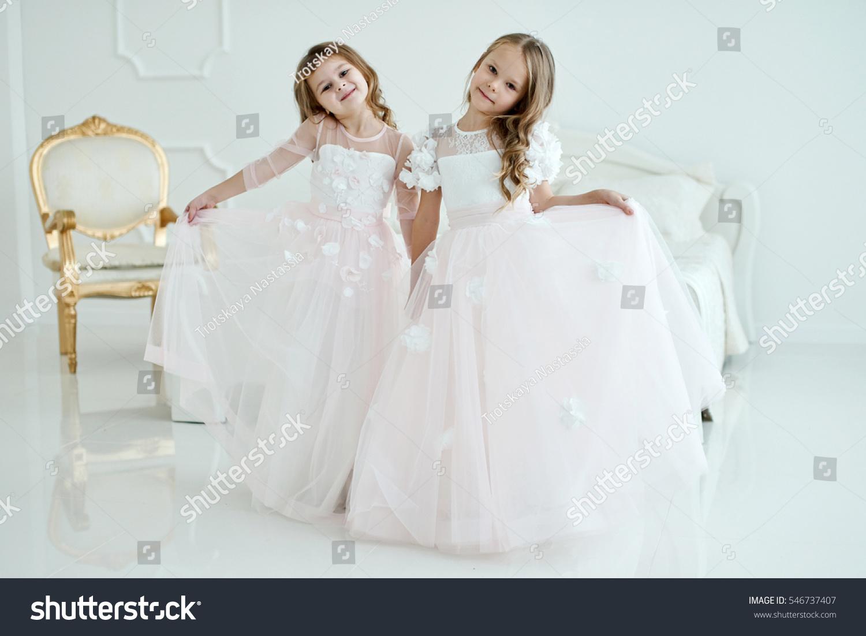 Two Little Girls Wedding Dresses Standing Stock Photo (100% Legal ...