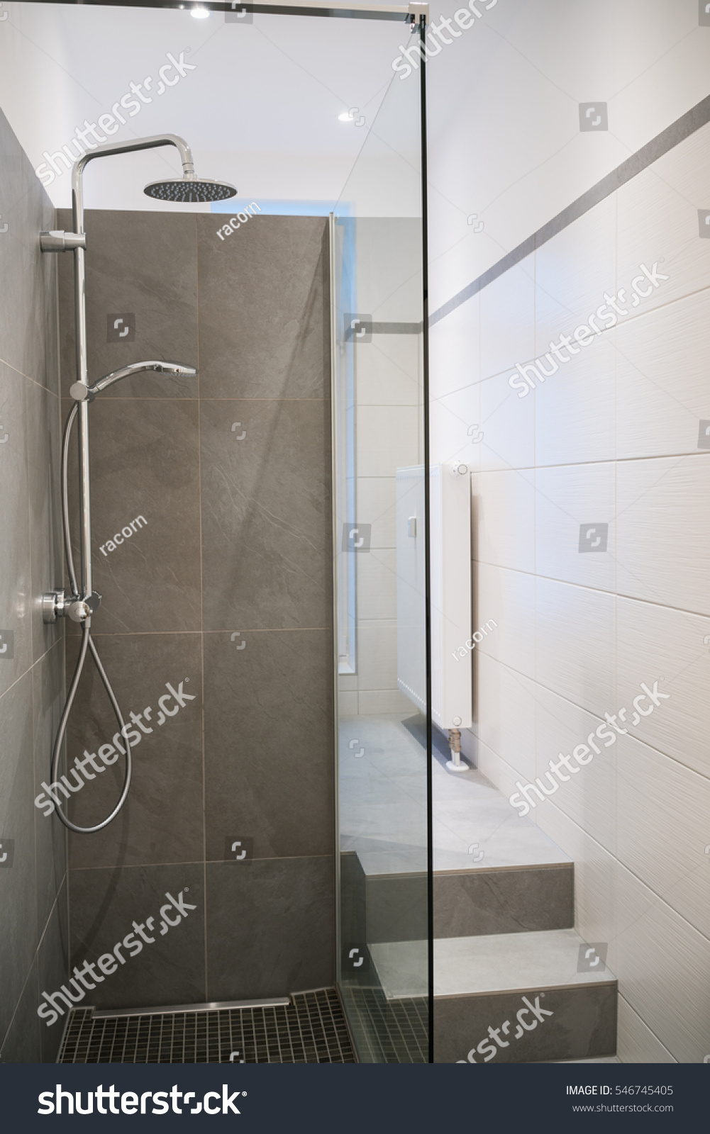 Modern Empty Glass Shower Cubicle Tiled Stock Photo (Royalty Free ...