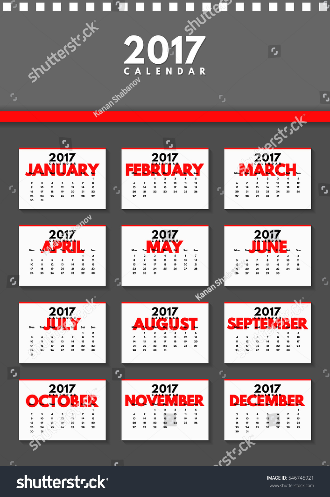 Calendar All Months : Vector calendar year all months stock