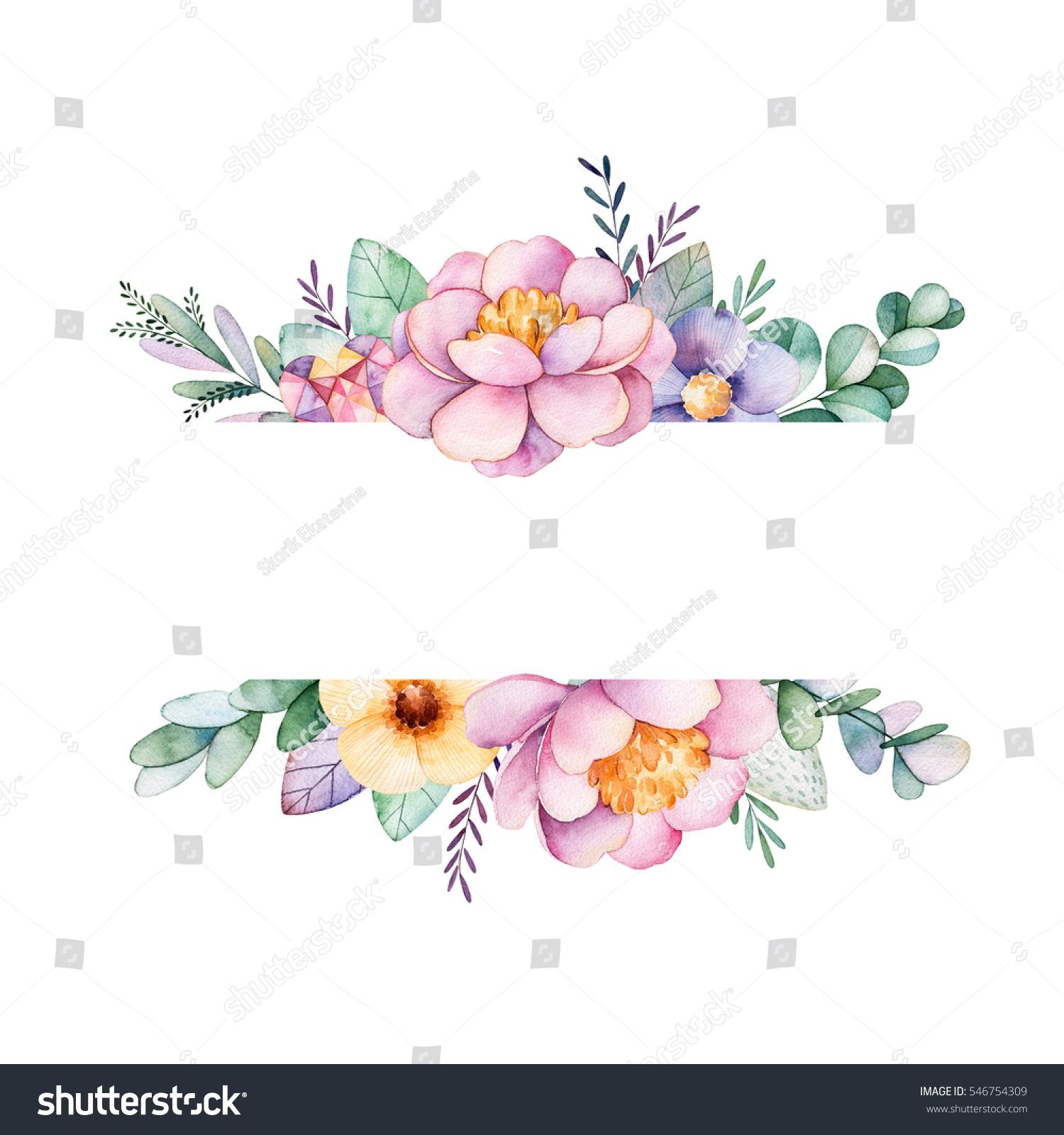 Beautiful Watercolor Border Frame Peonyflowerfoliagebranches
