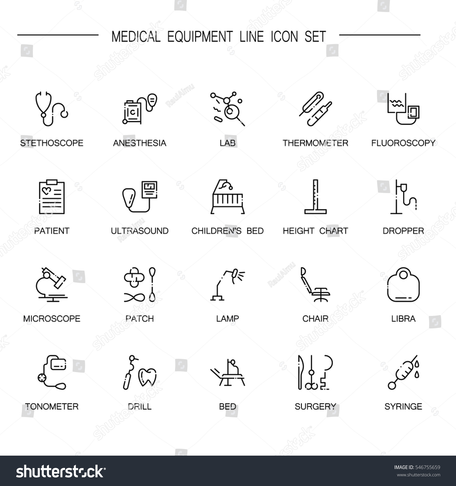 Medical equipment flat icon set collection stock vector 546755659 medical equipment flat icon set collection of high quality outline symbols of medical equipment for biocorpaavc Choice Image