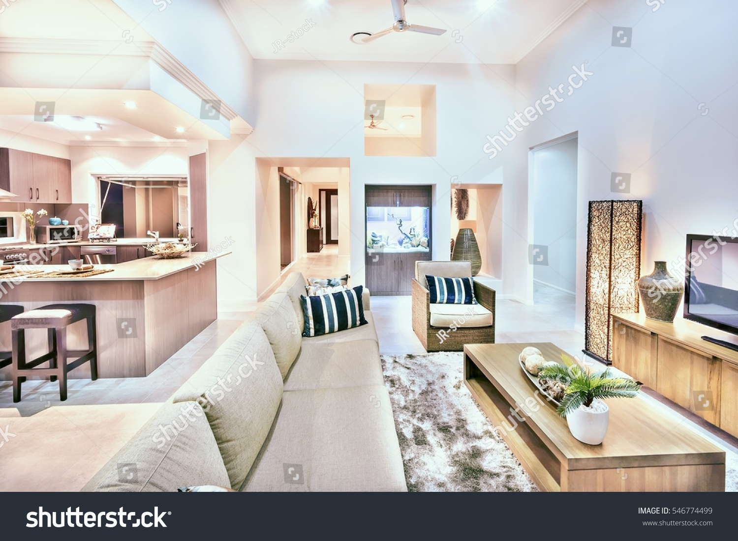 House Interior Comfortable Furnitures Kitchen Wears Stock