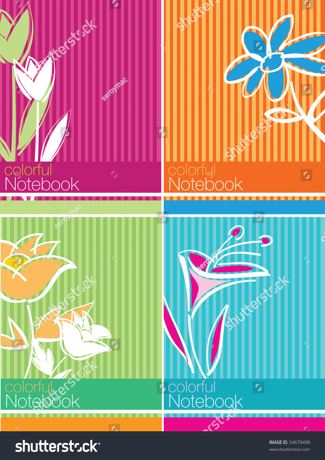 School Notebook Cover Design : Colorful notebook cover design stock vector