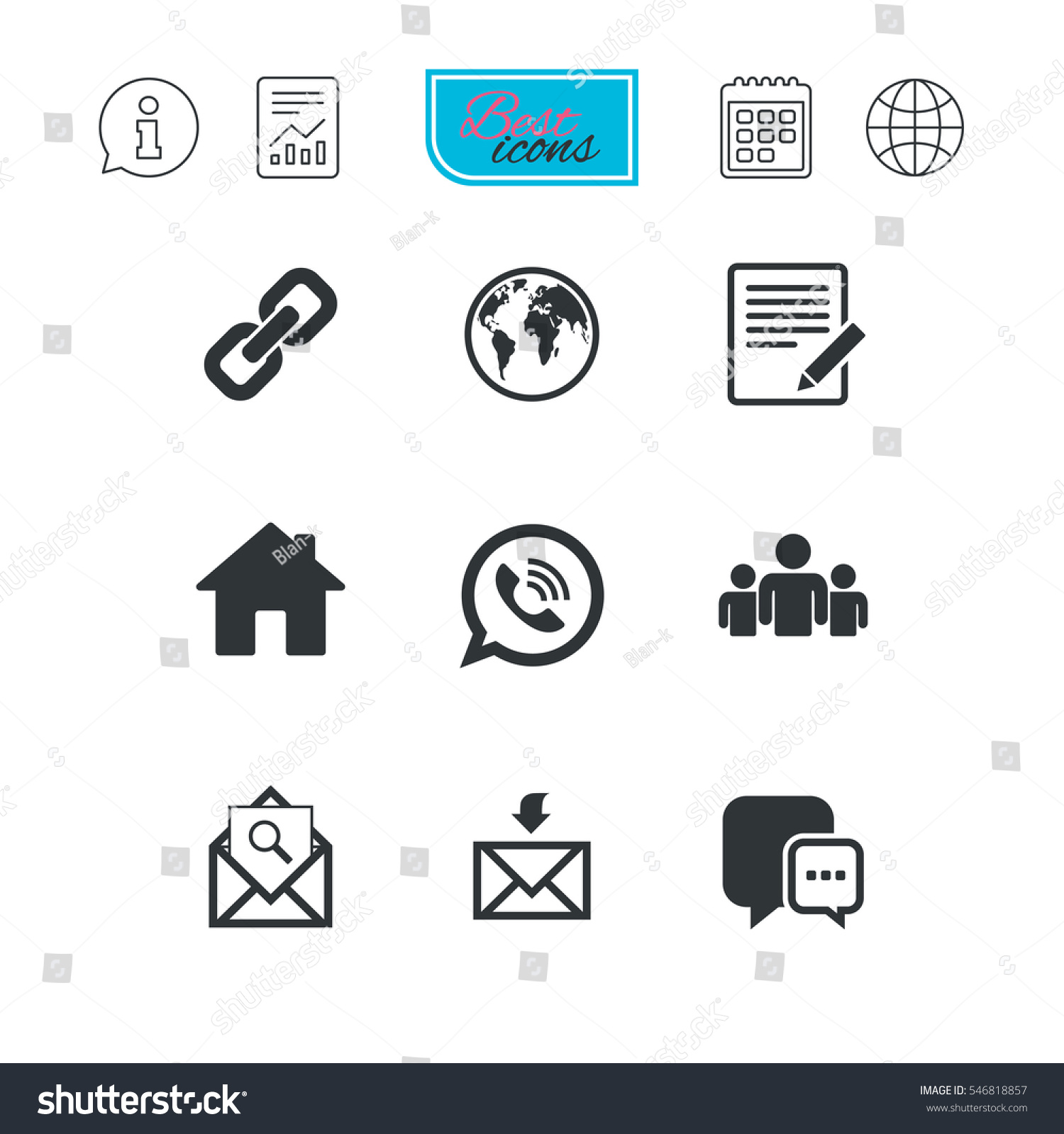 Communication Icons Contact Mail Signs Email Stock Vector Hd