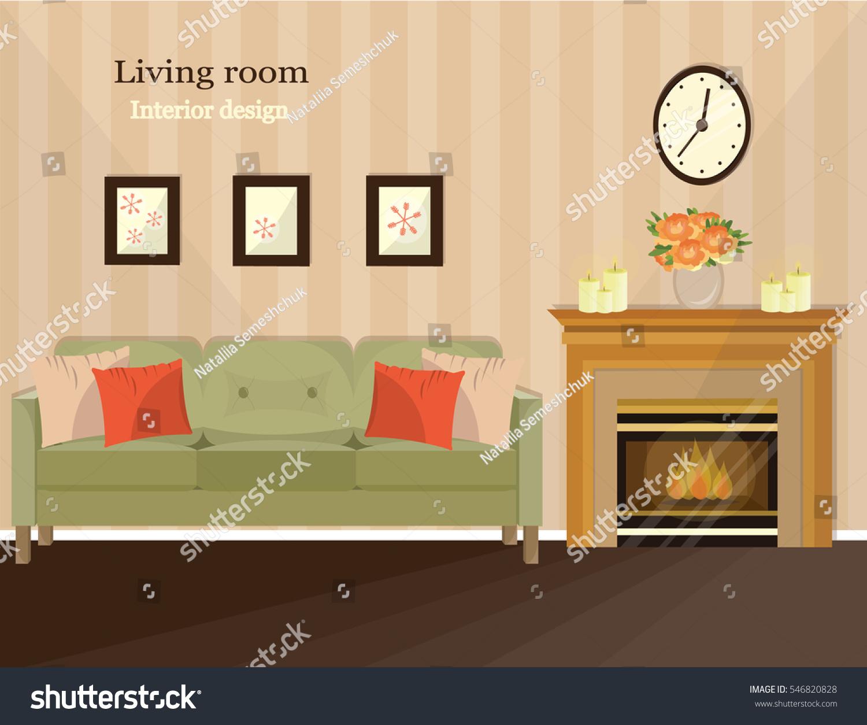 cozy living room interior furniture sofa stock vector 546820828