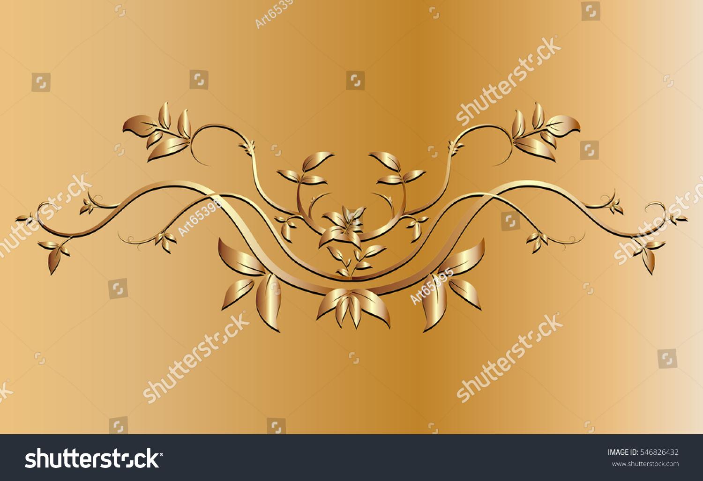 Golden Creeper Plant Border Ornaments Background Stock Vector ...