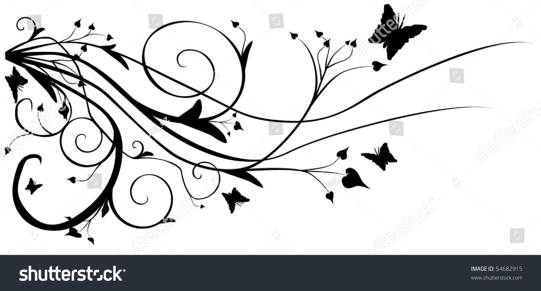 Abstract Black White Vector Flowers Background Stock Vektorgrafik