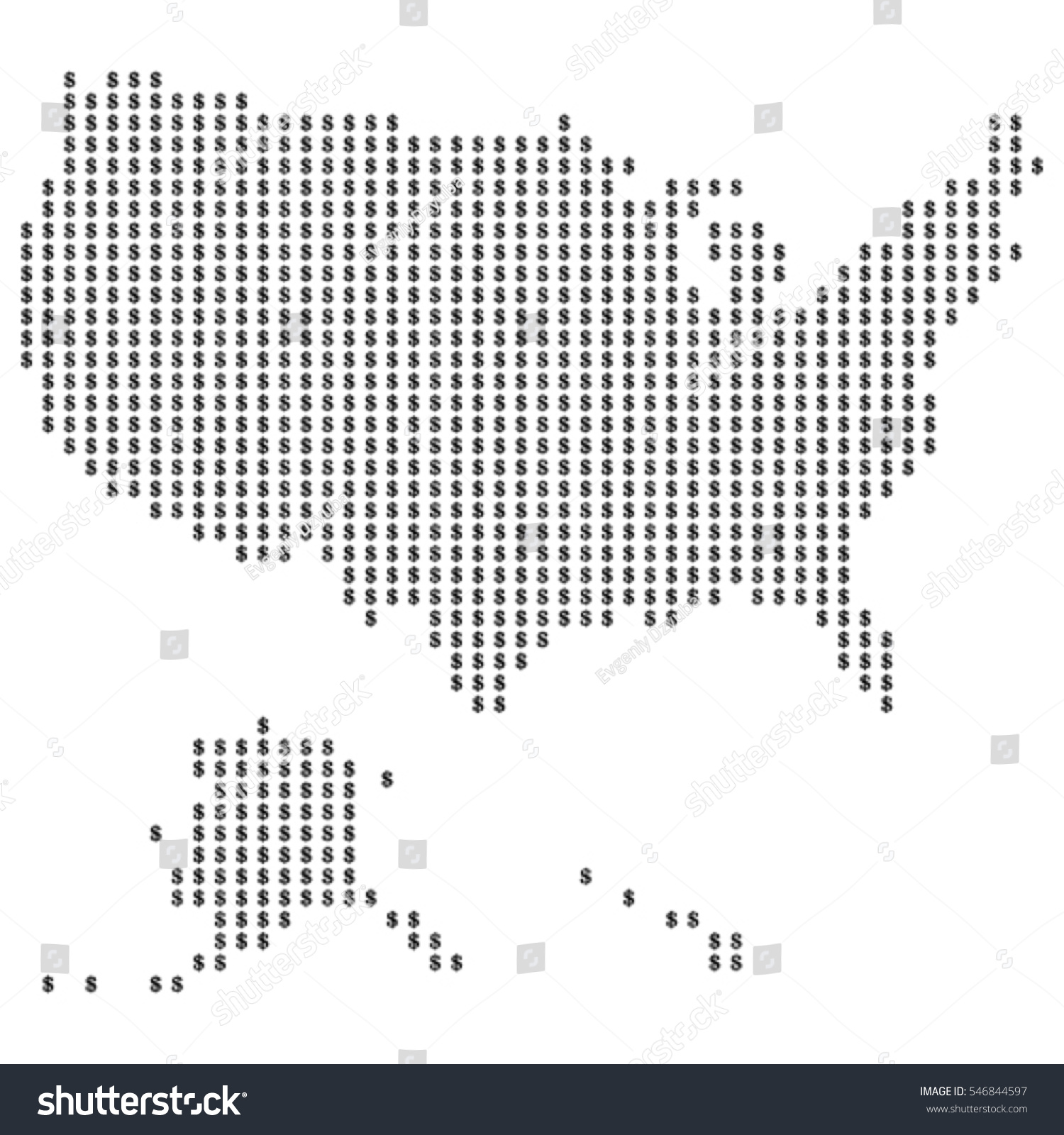 Map United States America Made Dots Stock Vector - A a large map of the usa