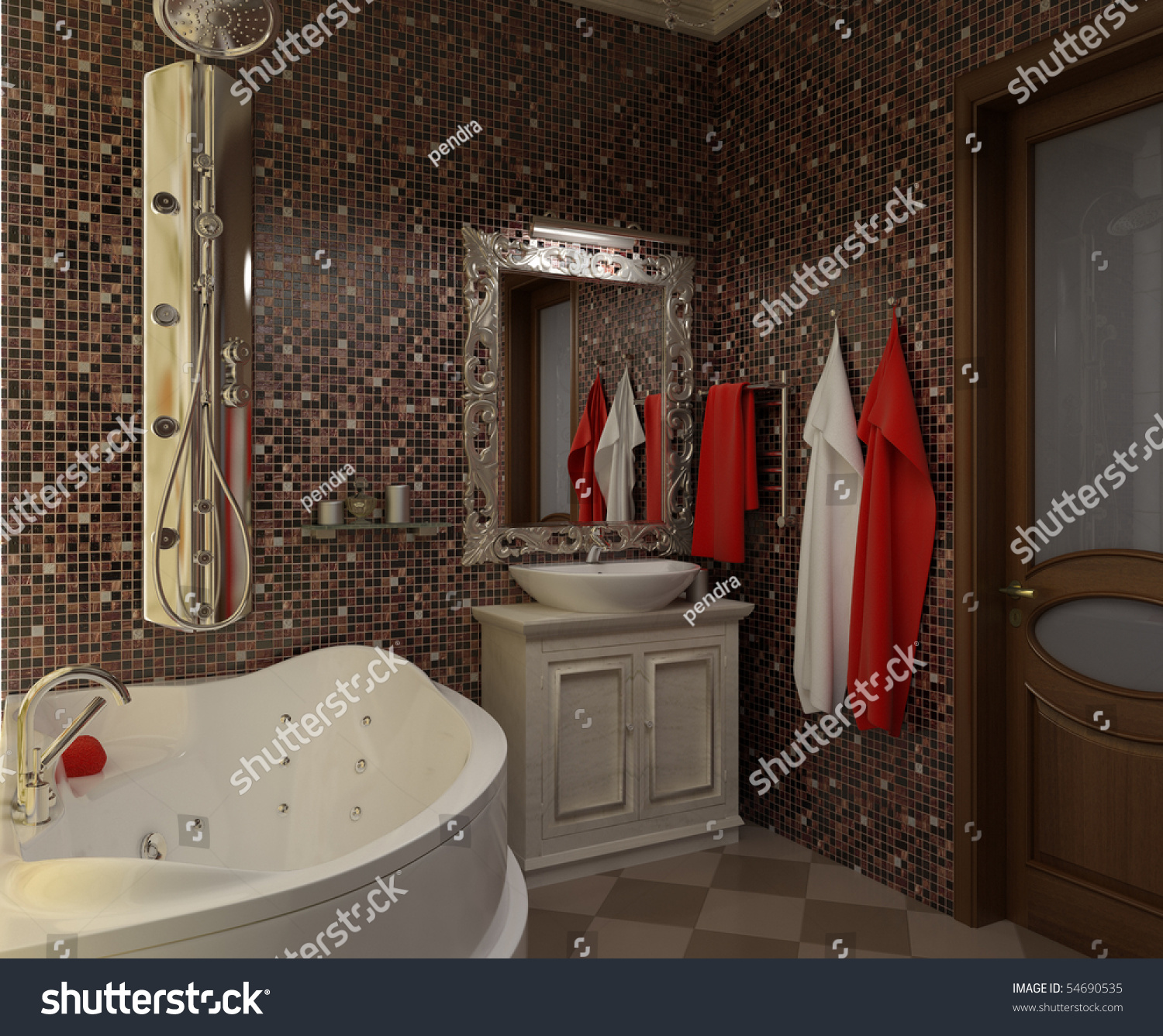Illustration interior beautiful bathroom with a toilet and for Beautiful toilet